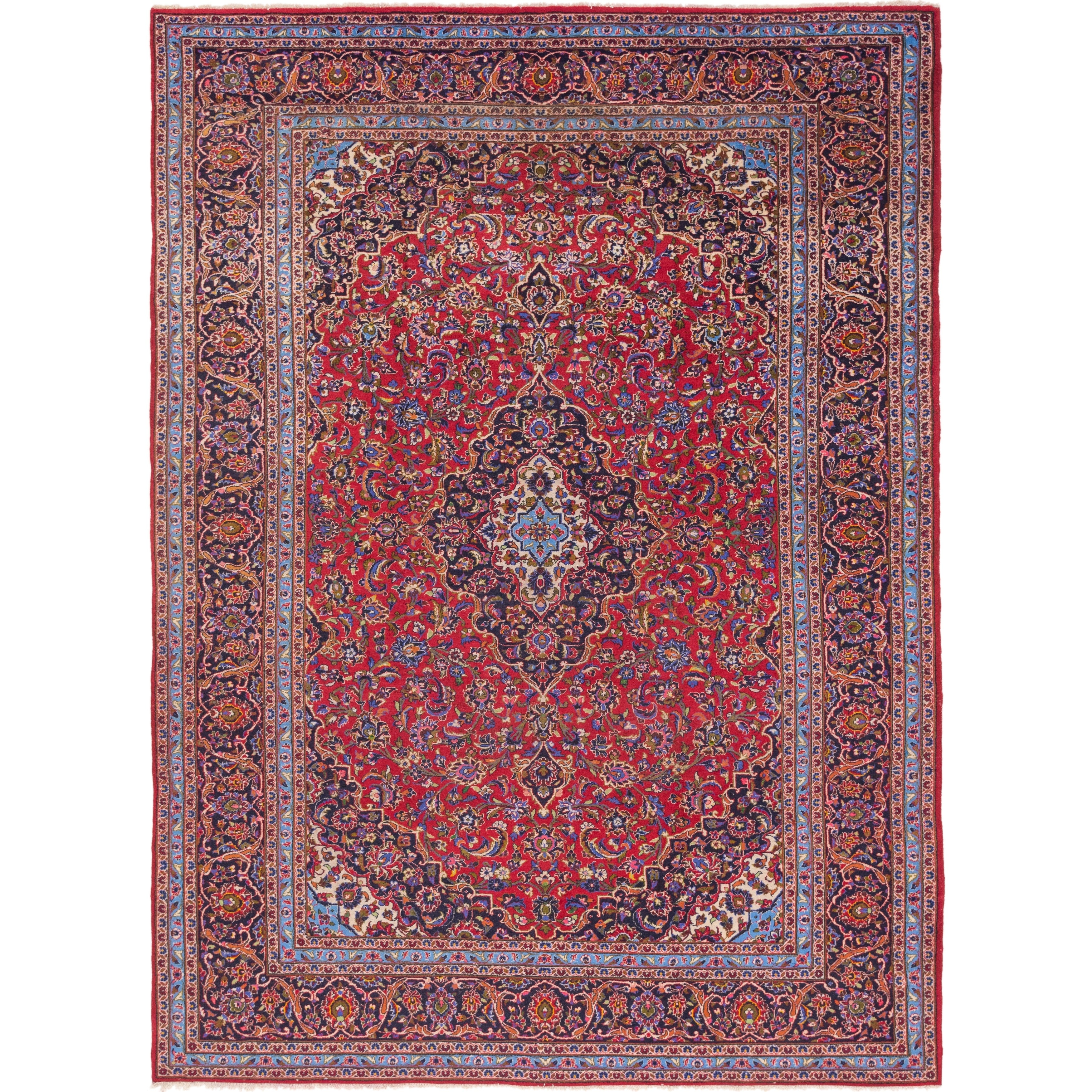 Hand Knotted Kashan Semi Antique Wool Area Rug - 9 8 x 13 2 (Red - 9 8 x 13 2)