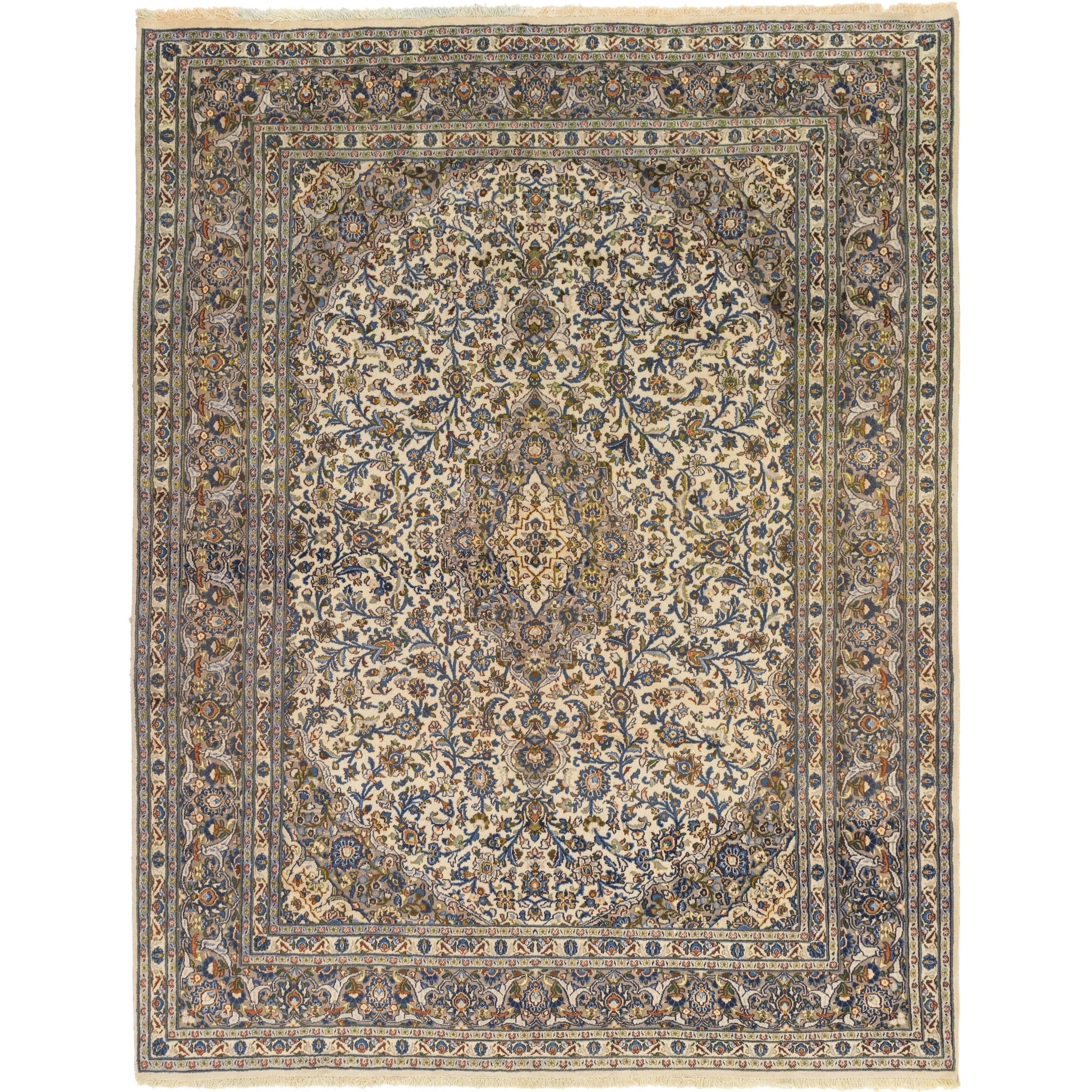 Hand Knotted Kashan Wool Area Rug - 9 7 x 12 5 (Ivory - 9 7 x 12 5)