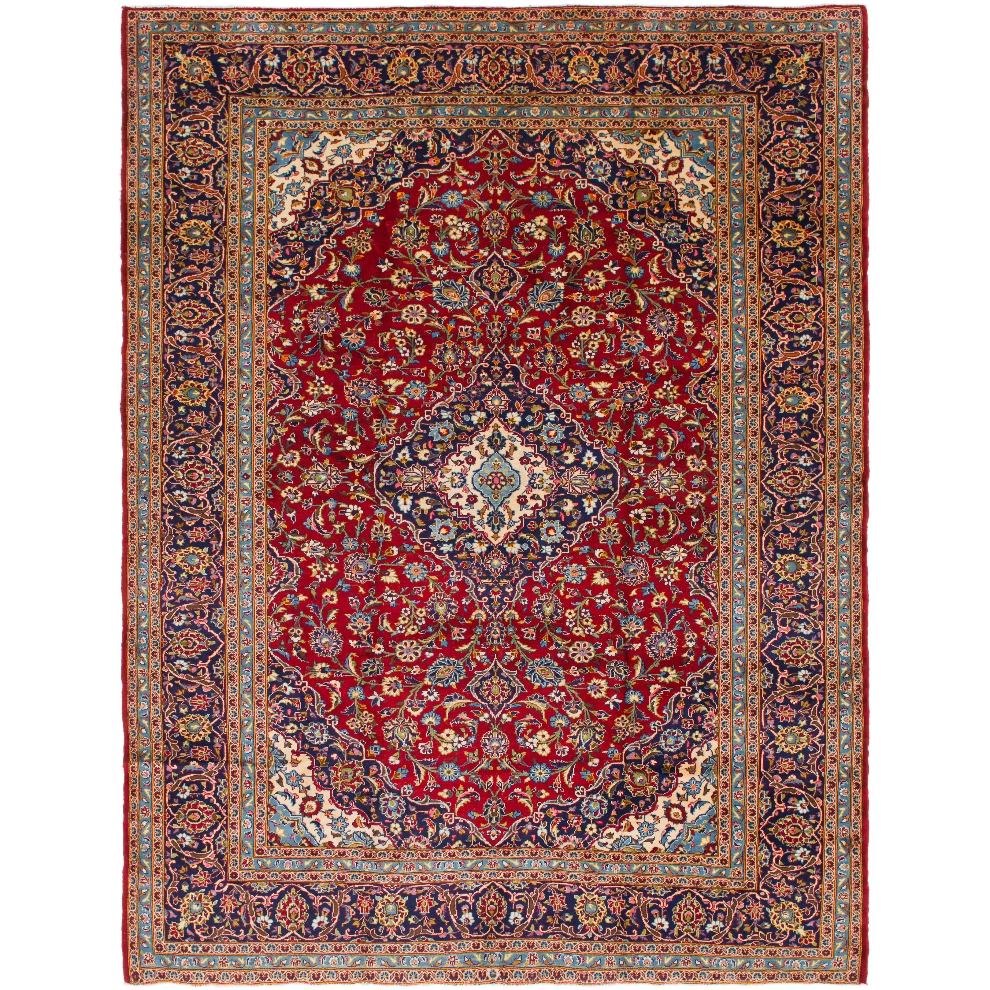 Hand Knotted Kashan Semi Antique Wool Area Rug - 9 5 x 12 6 (Red - 9 5 x 12 6)