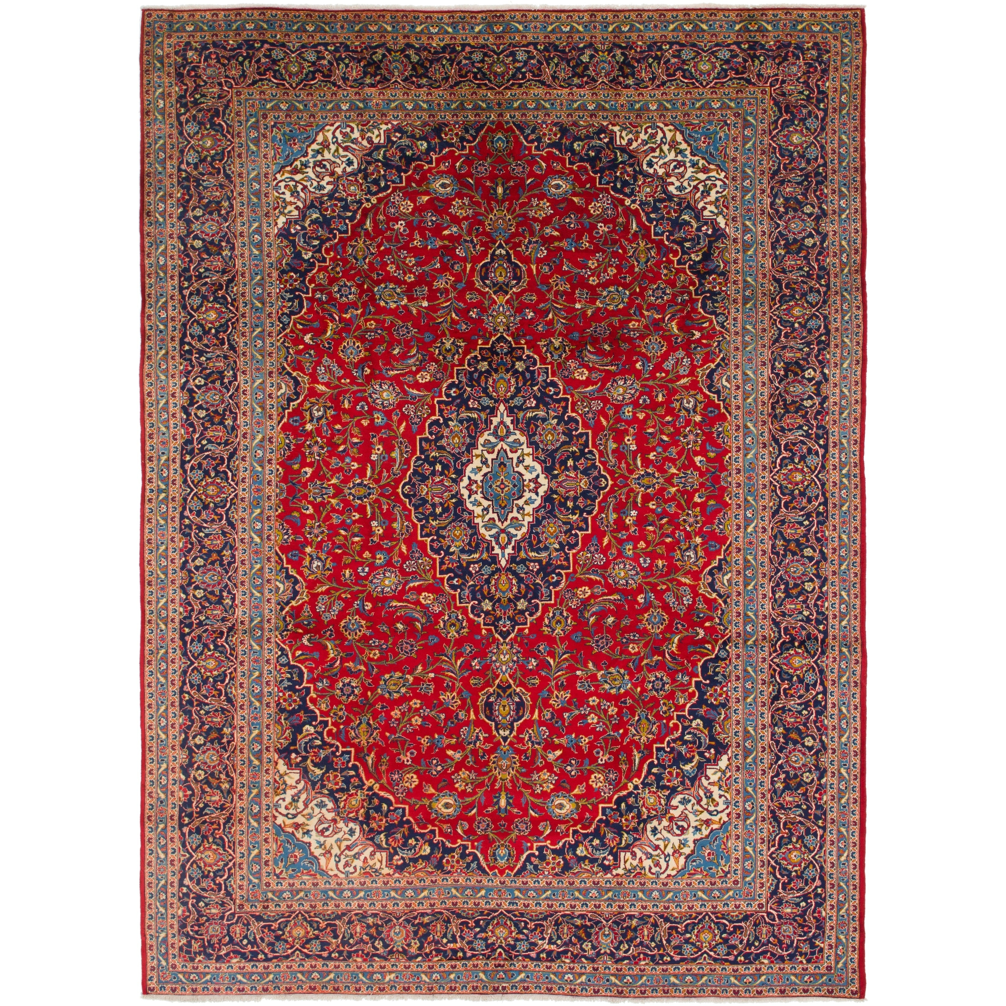 Hand Knotted Kashan Semi Antique Wool Area Rug - 9 9 x 13 4 (Red - 9 9 x 13 4)