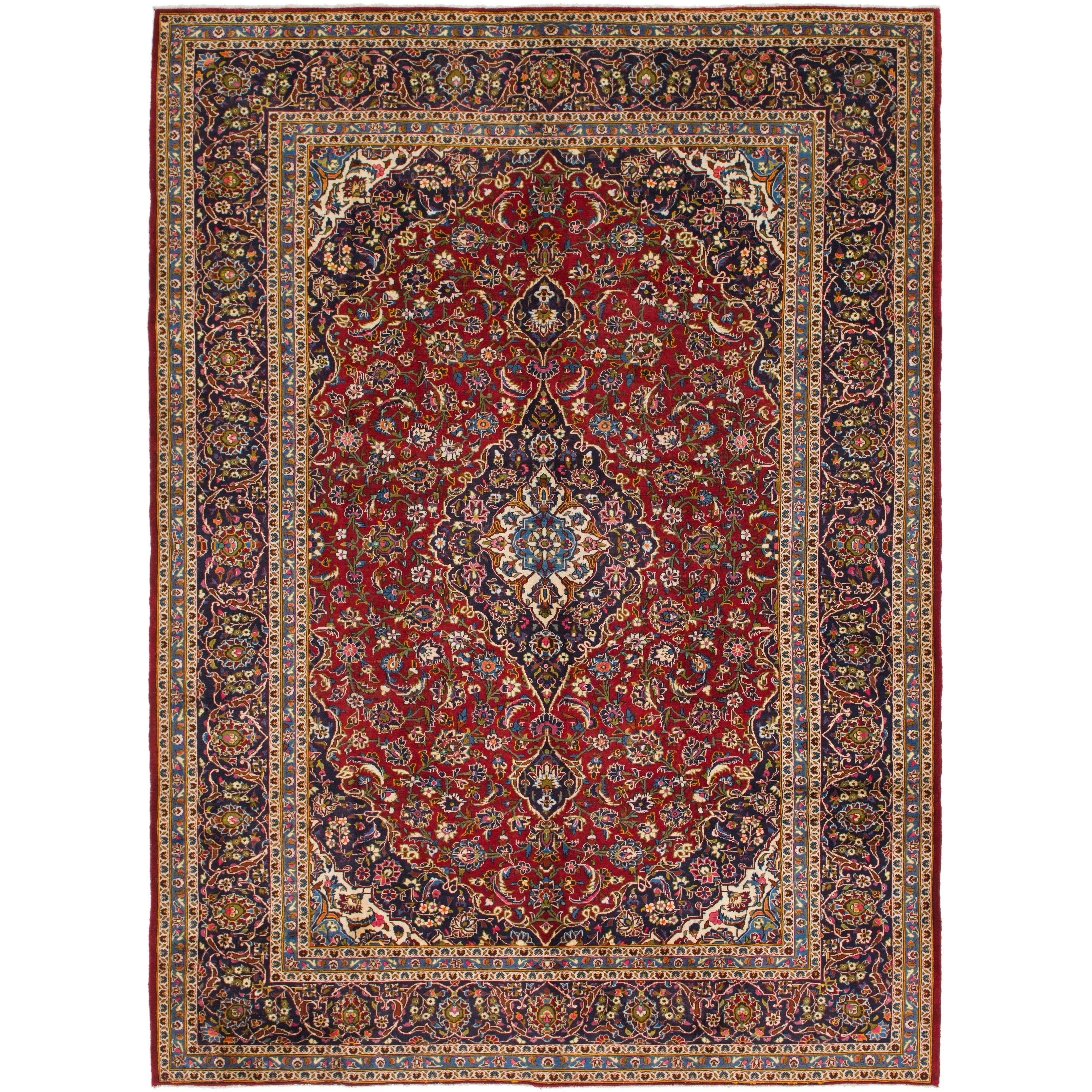 Hand Knotted Kashan Semi Antique Wool Area Rug - 9 8 x 13 3 (Red - 9 8 x 13 3)