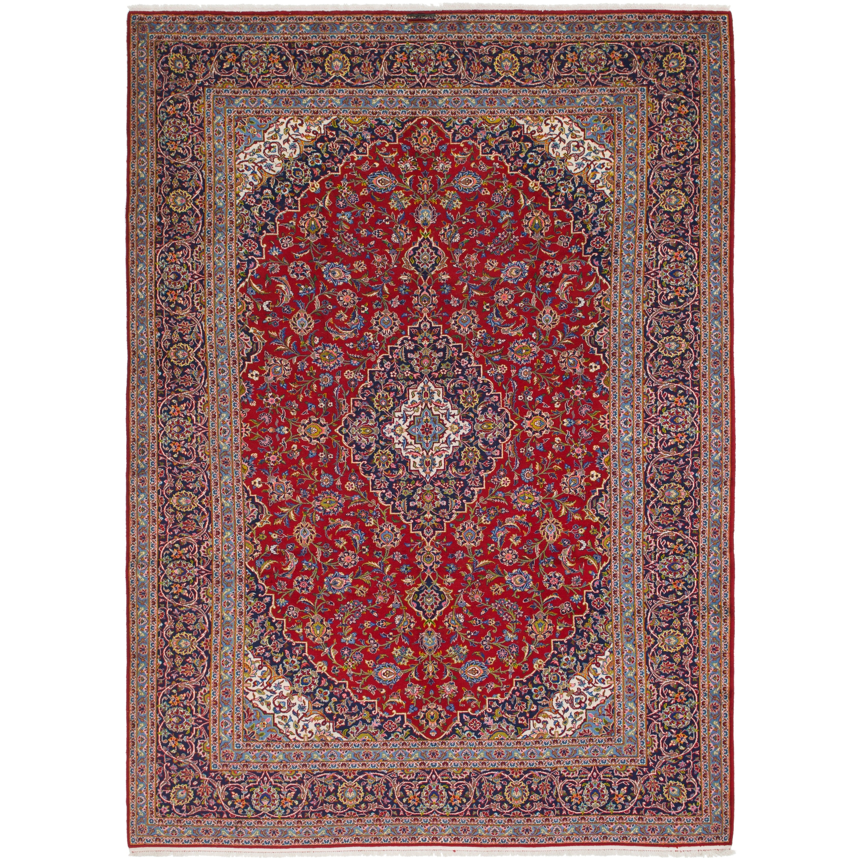 Hand Knotted Kashan Wool Area Rug - 9 9 x 13 8 (Red - 9 9 x 13 8)