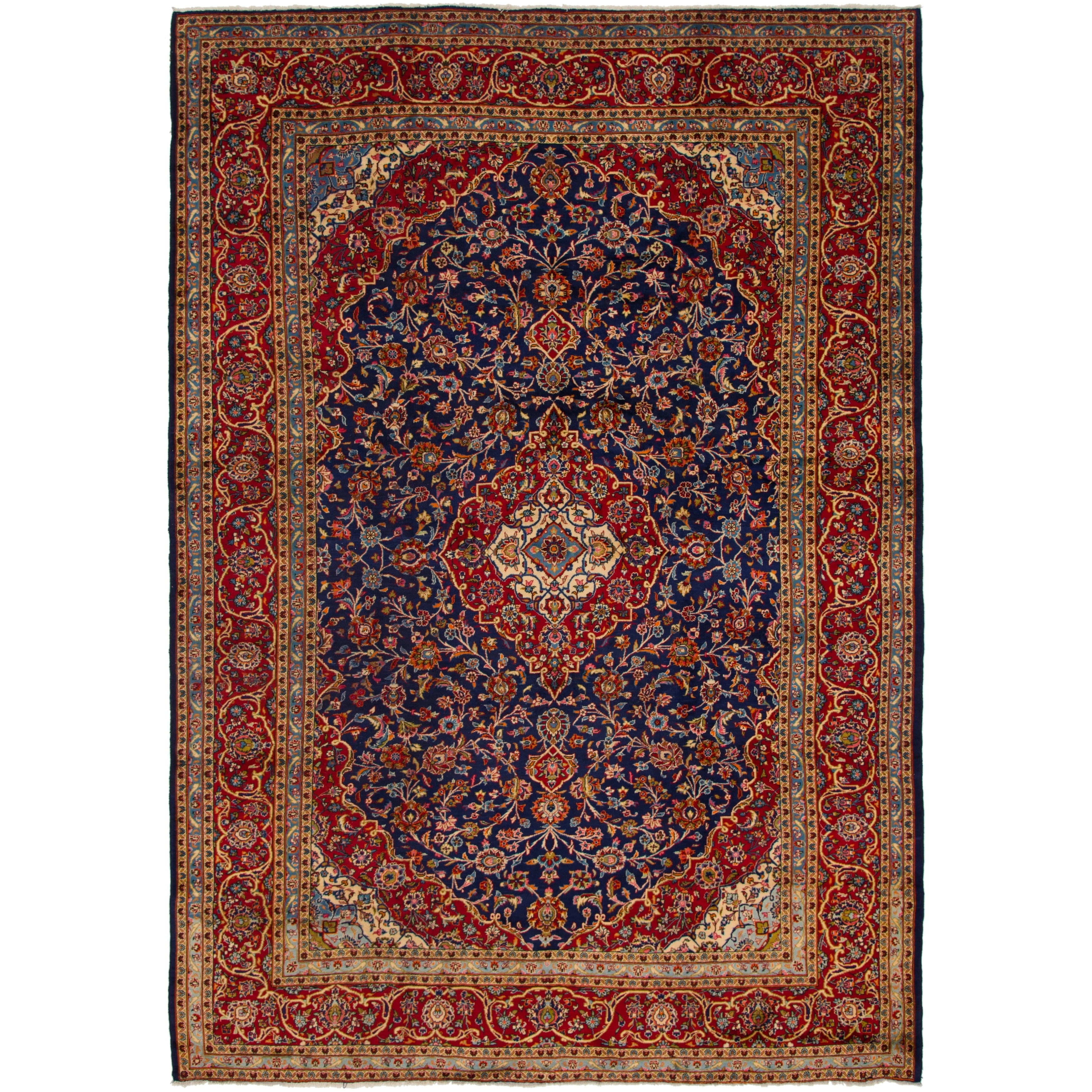 Hand Knotted Kashan Semi Antique Wool Area Rug - 9 8 x 13 8 (Navy blue - 9 8 x 13 8)