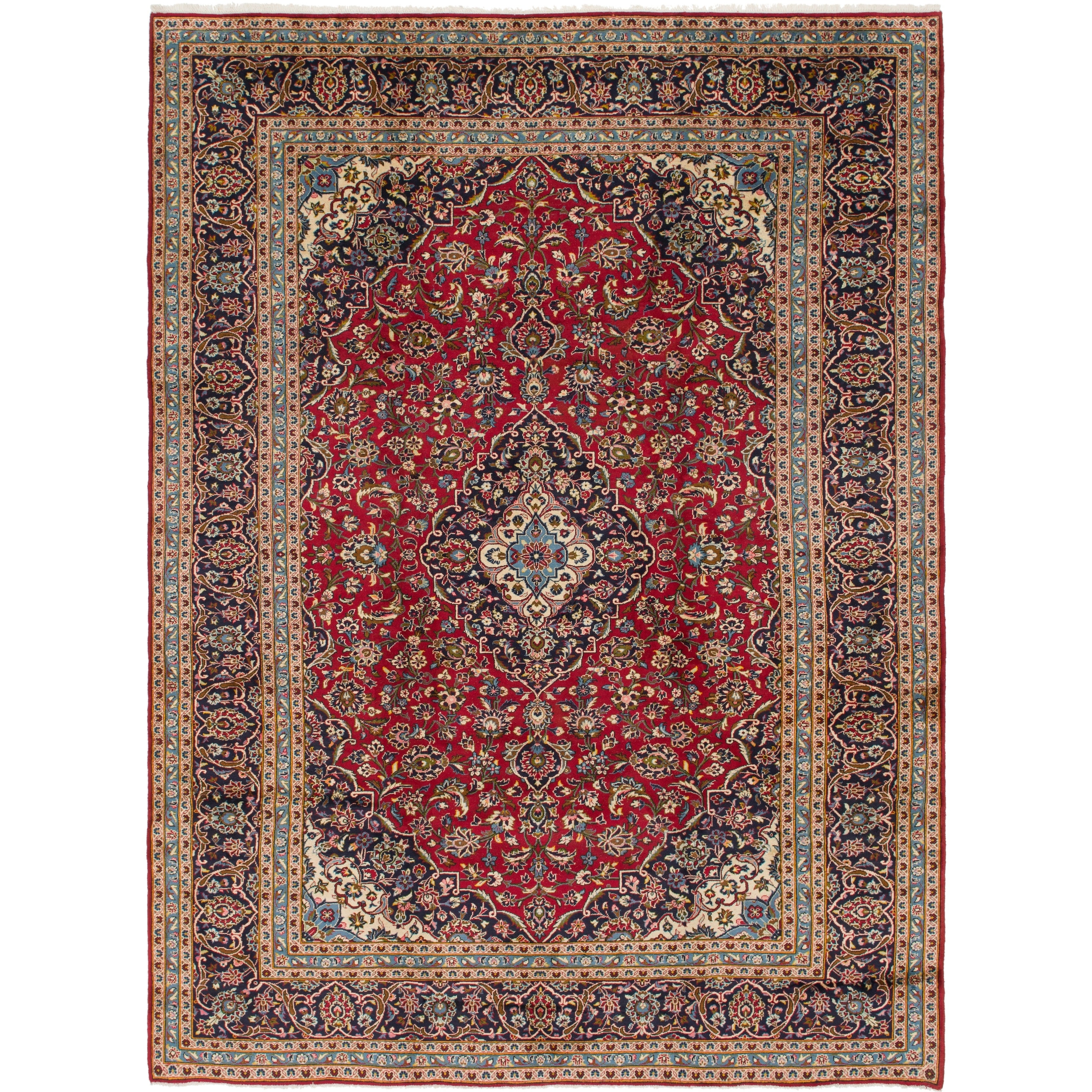 Hand Knotted Kashan Semi Antique Wool Area Rug - 9 9 x 13 2 (Red - 9 9 x 13 2)