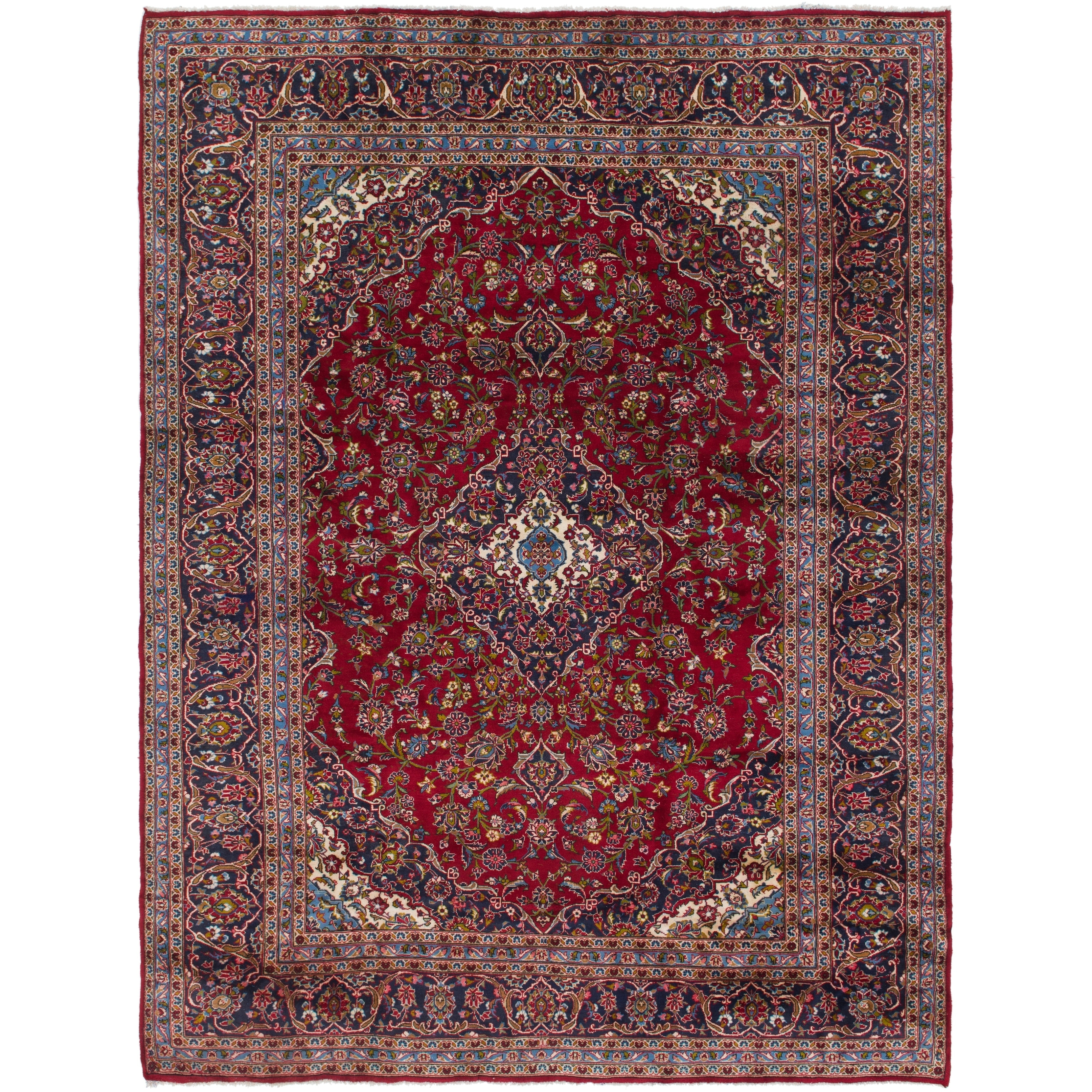 Hand Knotted Kashan Semi Antique Wool Area Rug - 9 9 x 12 10 (Red - 9 9 x 12 10)