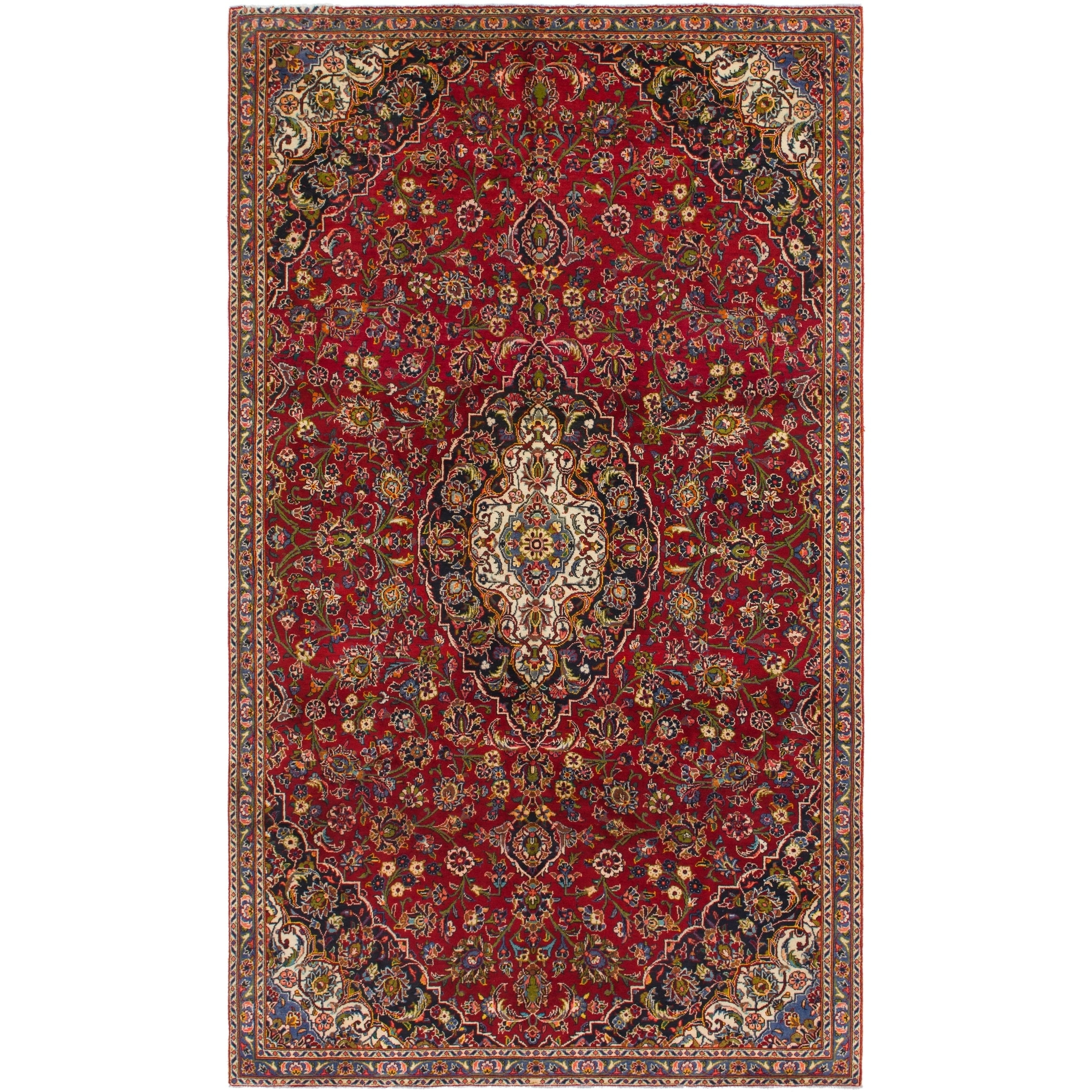 Hand Knotted Kashan Semi Antique Wool Area Rug - 6 9 x 11 7 (Red - 6 9 x 11 7)