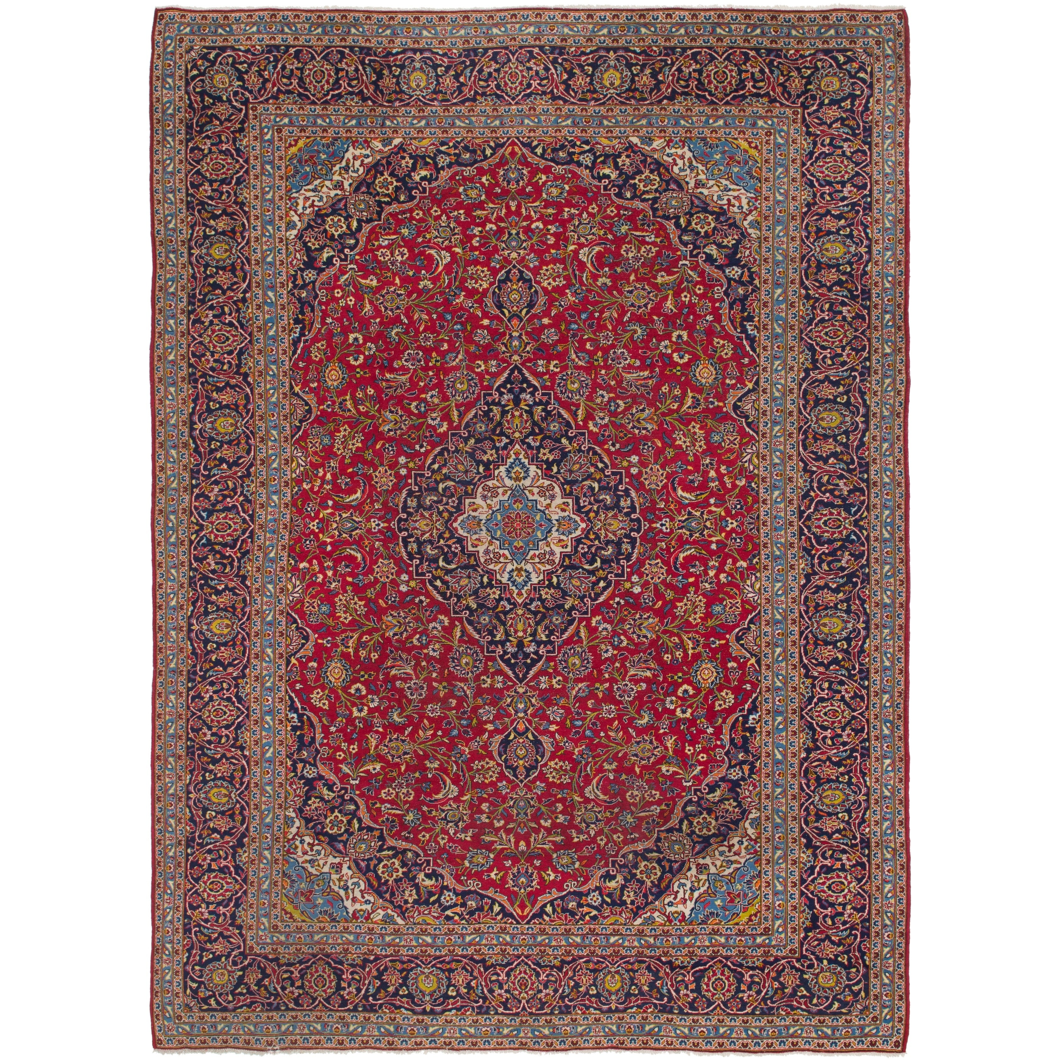Hand Knotted Kashan Semi Antique Wool Runner Rug - 9 9 x 13 8 (Red - 9 9 x 13 8)
