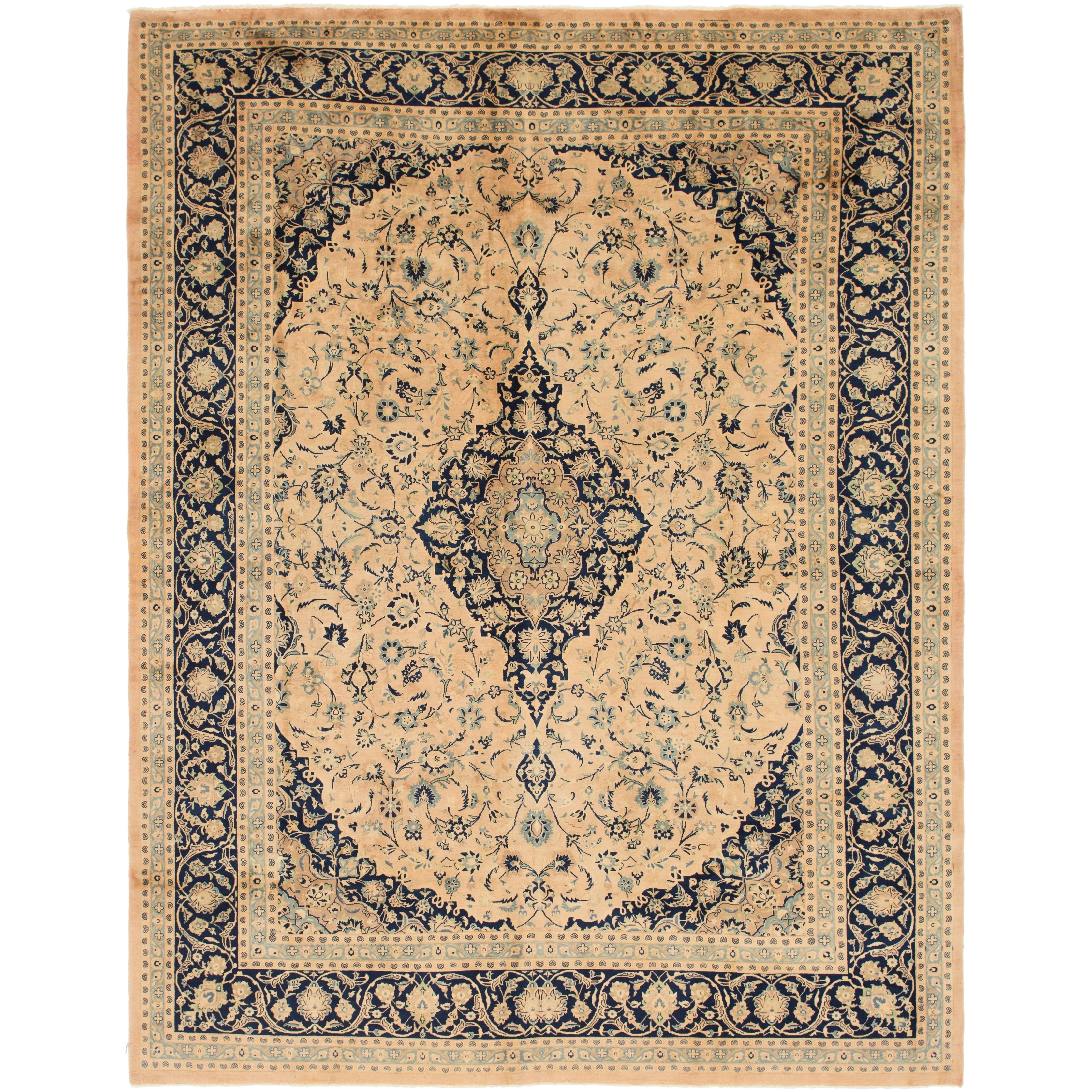 Hand Knotted Kashan Semi Antique Wool Area Rug - 9 8 x 12 7 (Orange - 9 8 x 12 7)