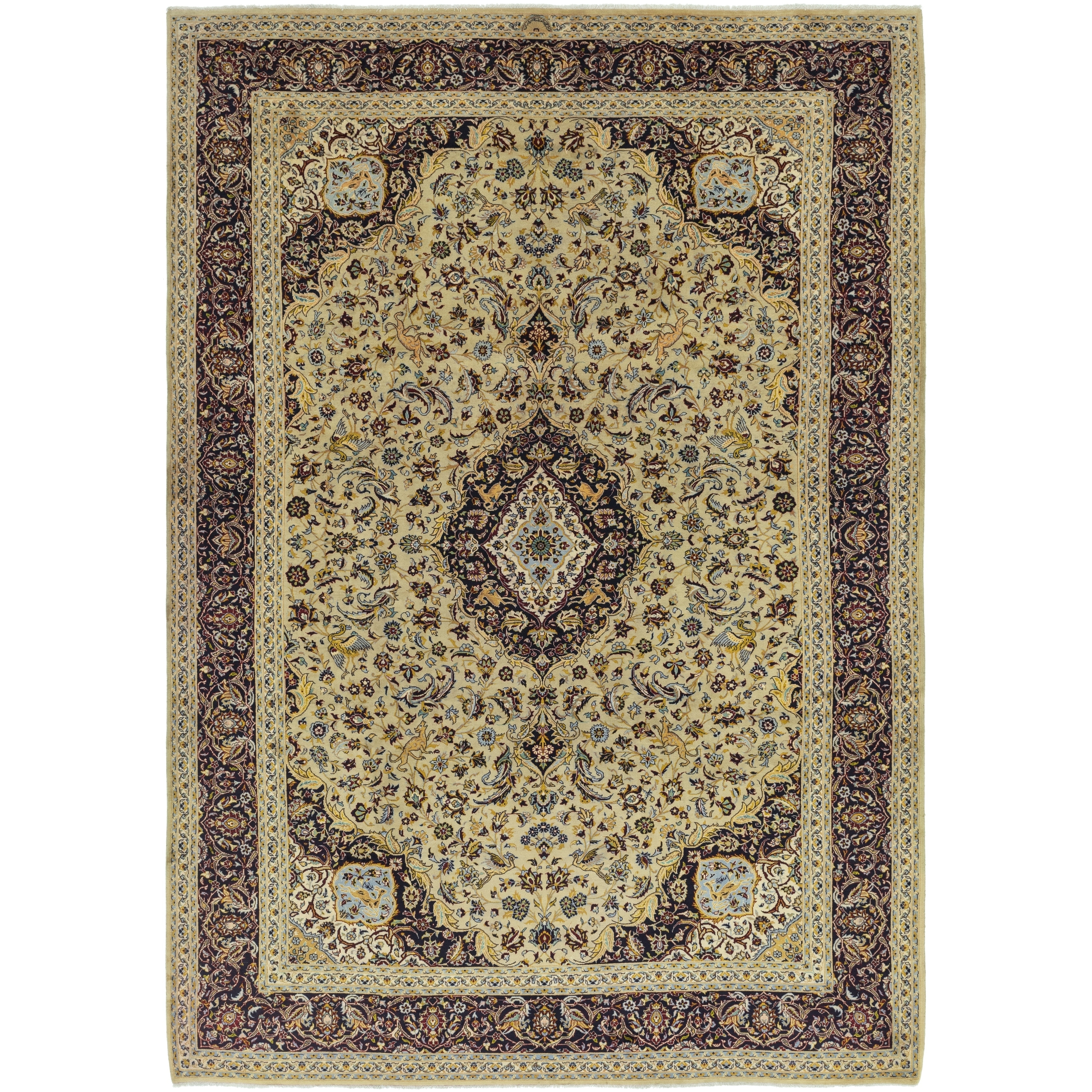 Hand Knotted Kashan Semi Antique Wool Area Rug - 9 8 x 13 9 (Tan - 9 8 x 13 9)