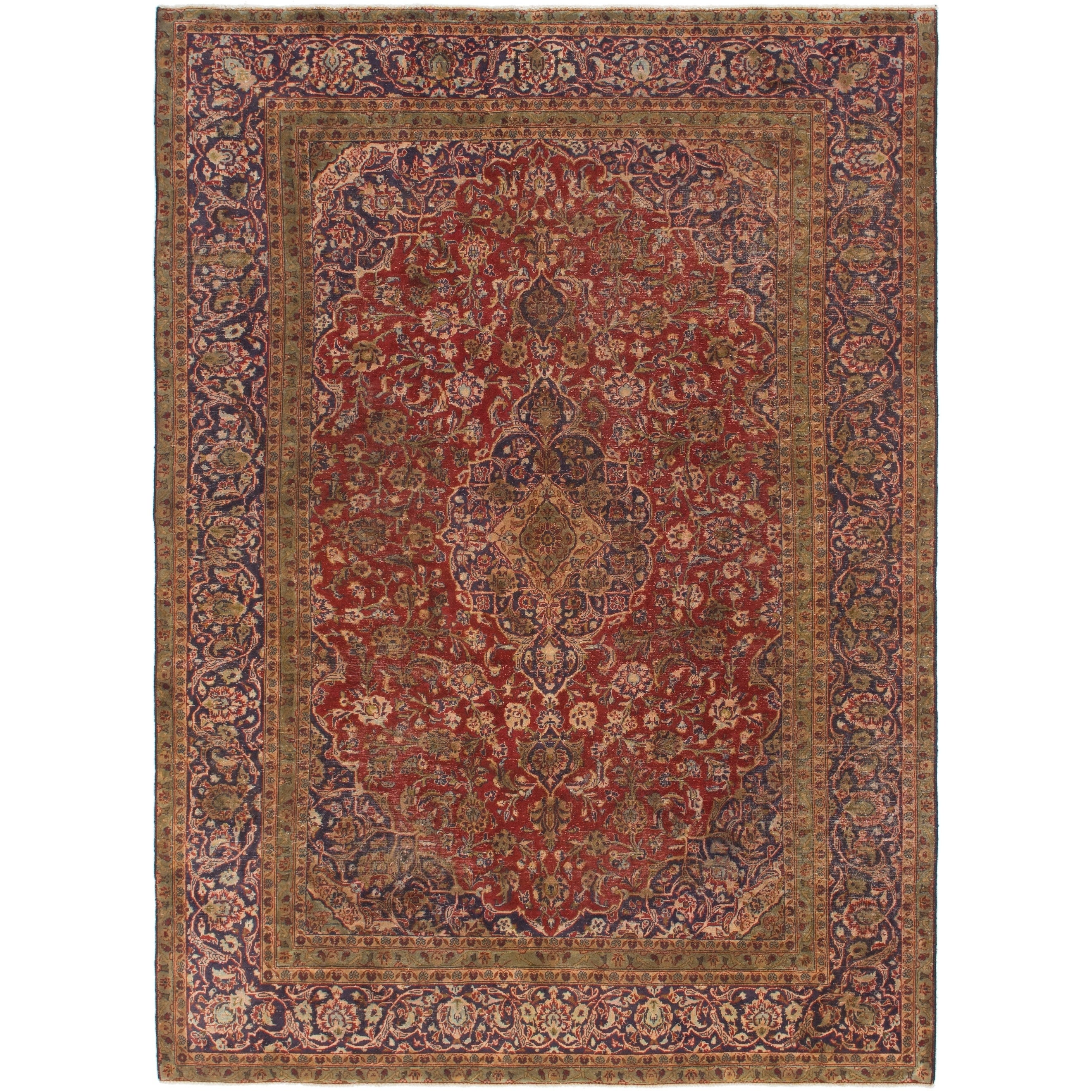 Hand Knotted Kashan Antique Wool Area Rug - 7 8 x 10 9 (Red - 7 8 x 10 9)
