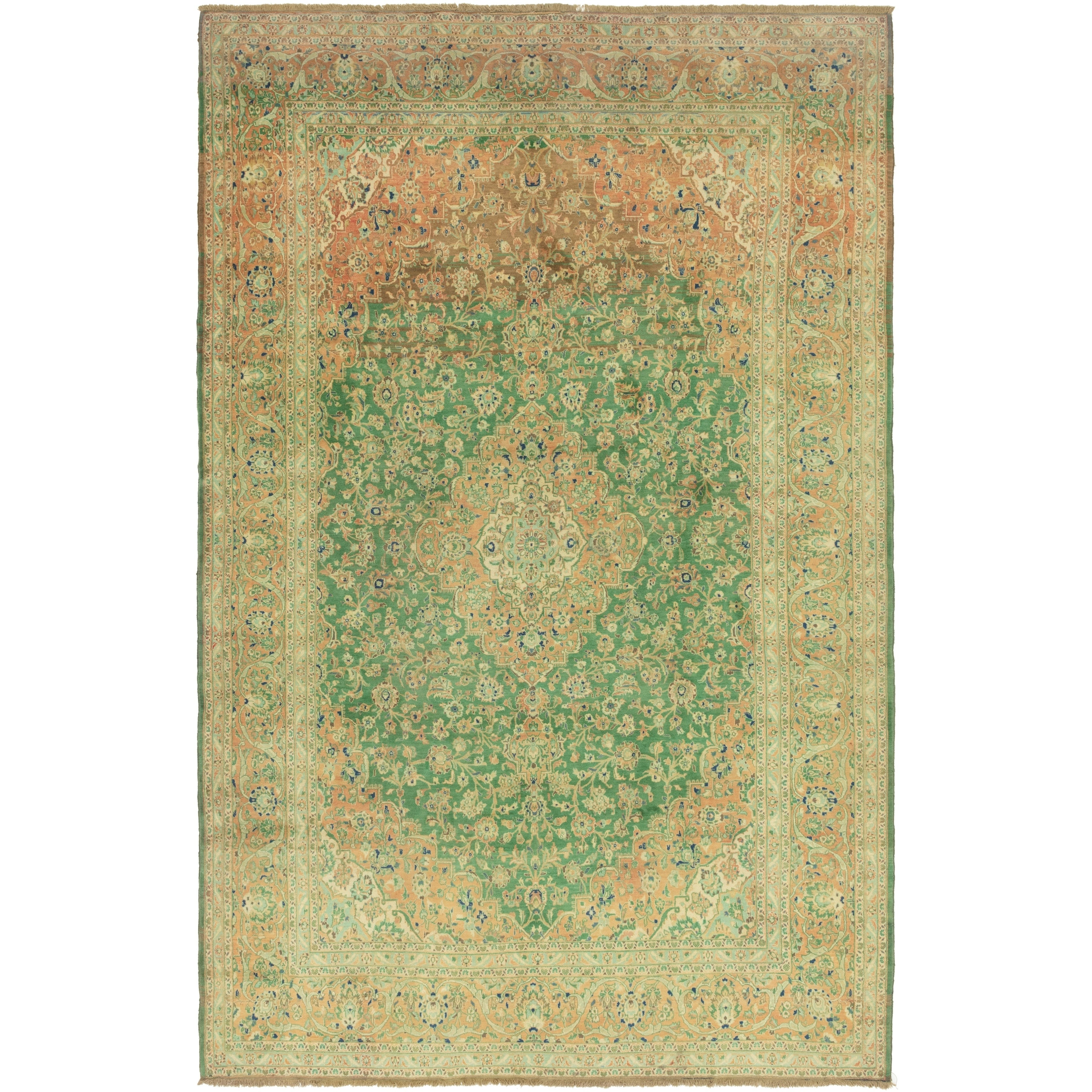 Hand Knotted Kashan Semi Antique Wool Area Rug - 9 8 x 14 9 (Green - 9 8 x 14 9)