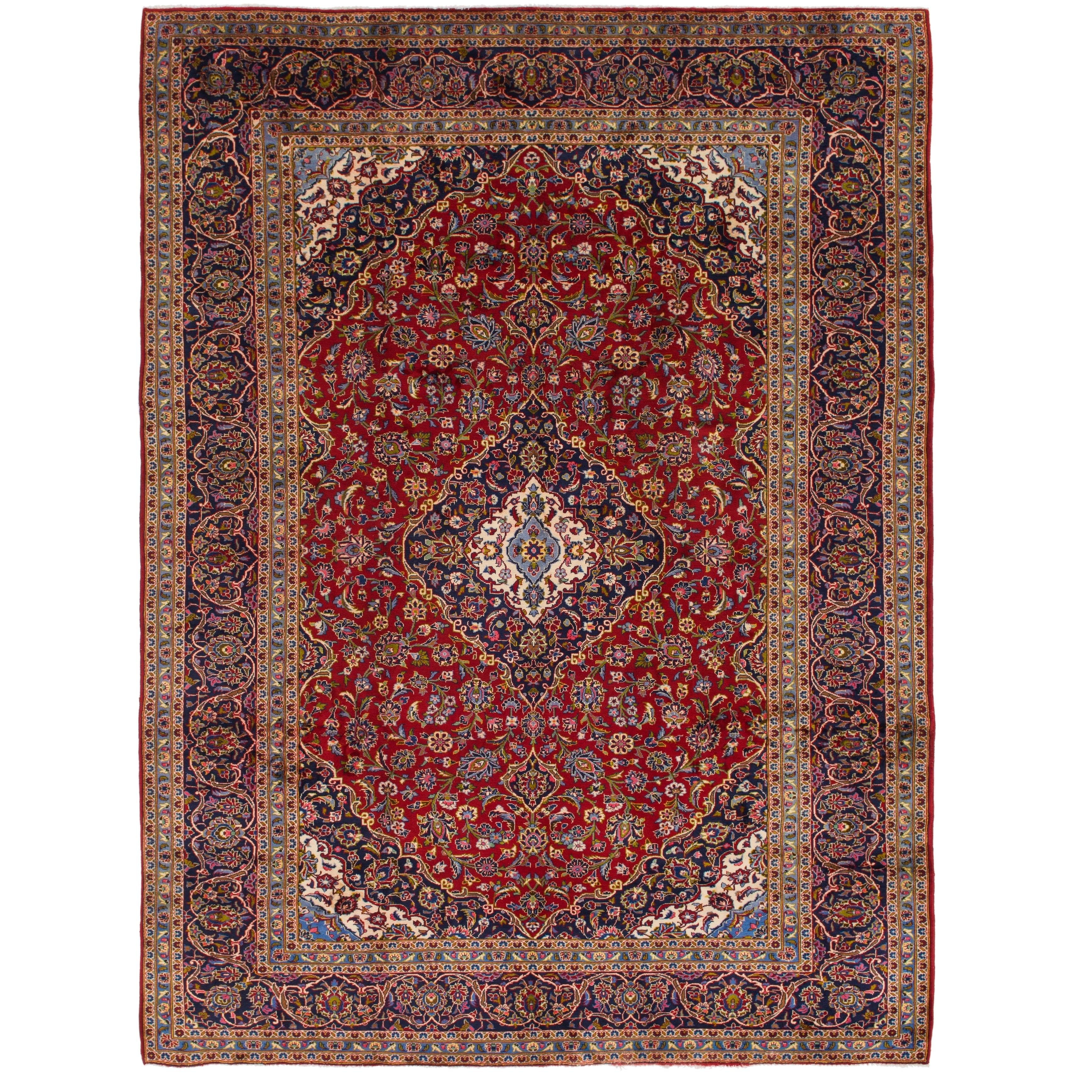 Hand Knotted Kashan Semi Antique Wool Area Rug - 10 x 13 4 (Red - 10 x 13 4)