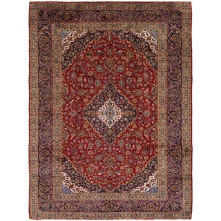 Hand Knotted Kashan Semi Antique Wool Area Rug - 10' x 13' 4