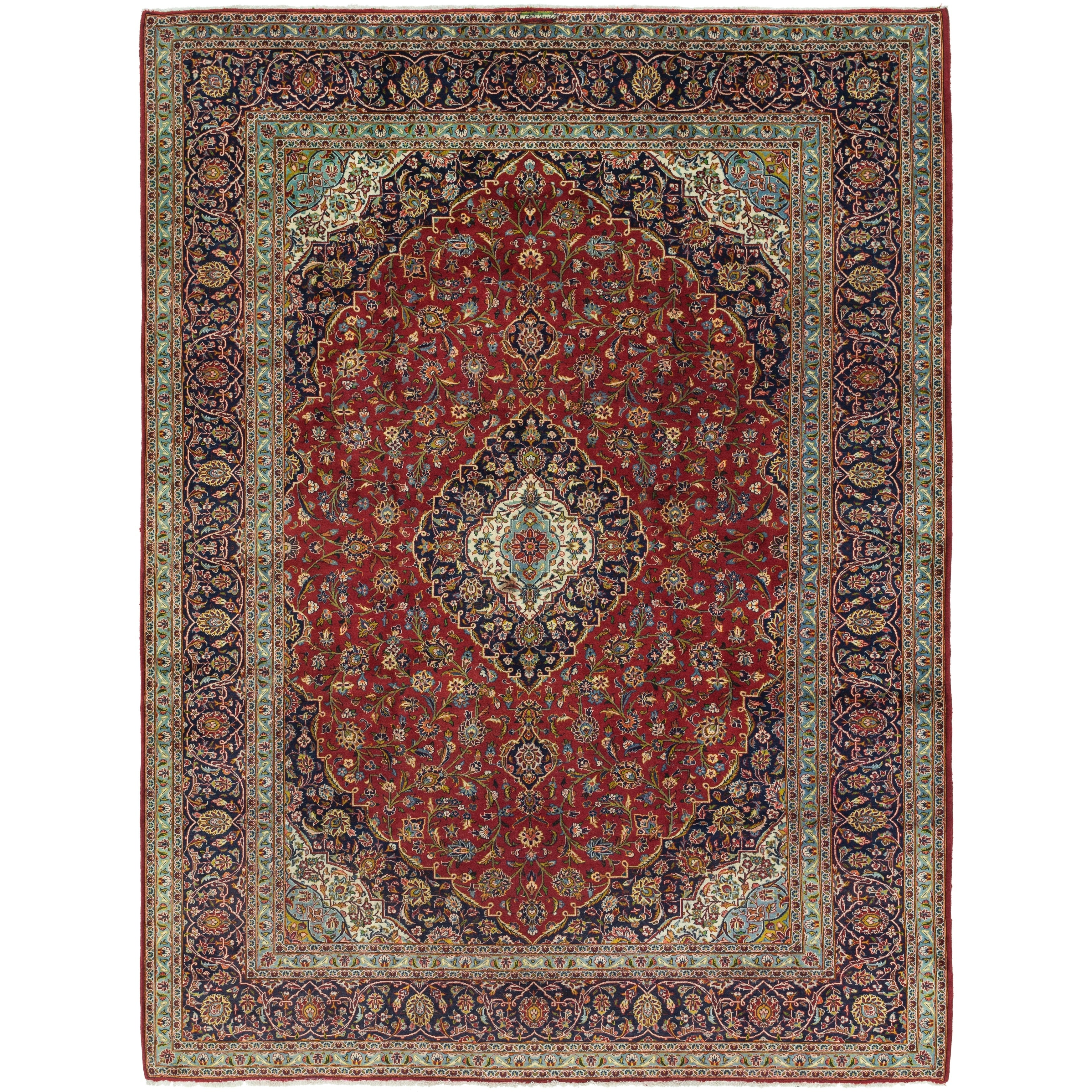 Hand Knotted Kashan Wool Area Rug - 9 10 x 13 4 (Red - 9 10 x 13 4)