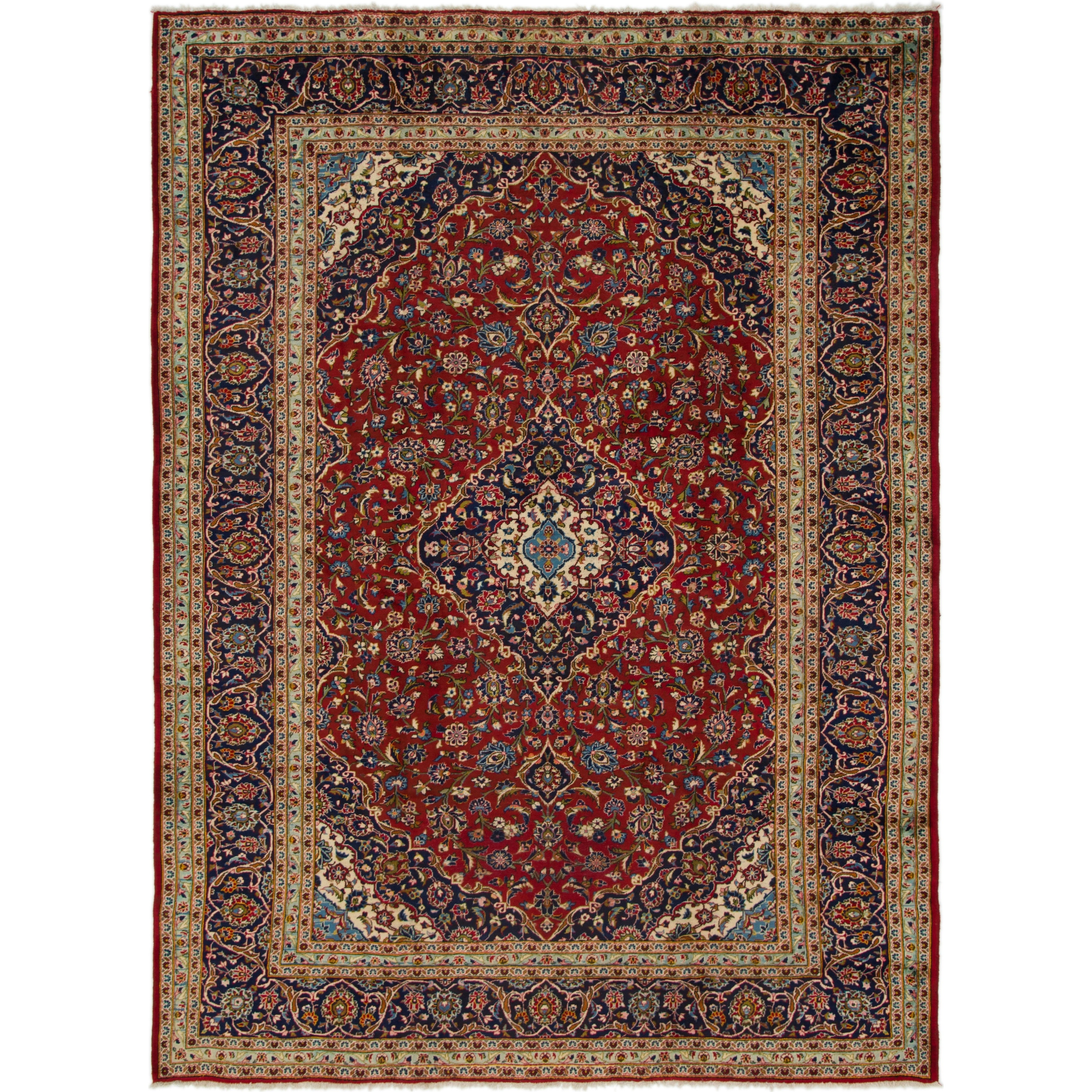 Hand Knotted Kashan Wool Area Rug - 9 5 x 12 10 (Red - 9 5 x 12 10)