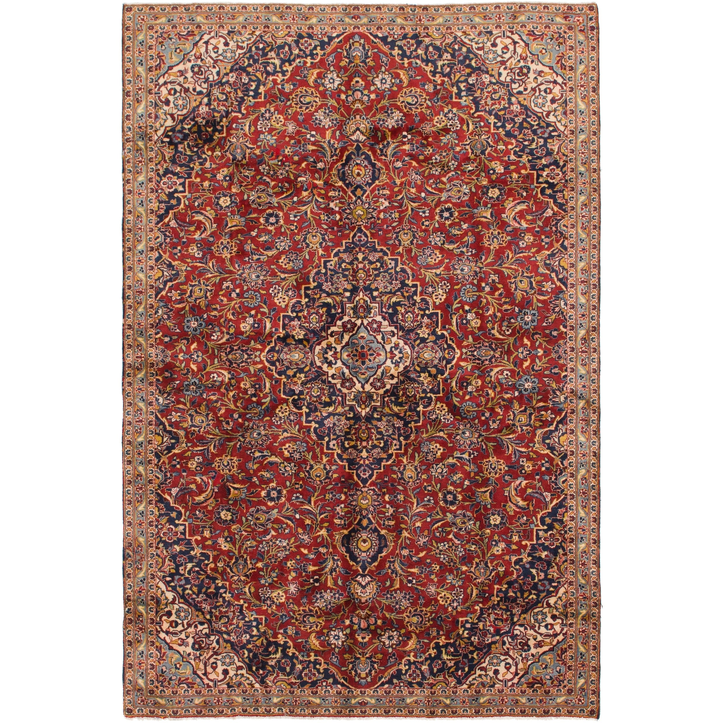 Hand Knotted Kashan Semi Antique Wool Area Rug - 7 2 x 11 (Red - 7 2 x 11)