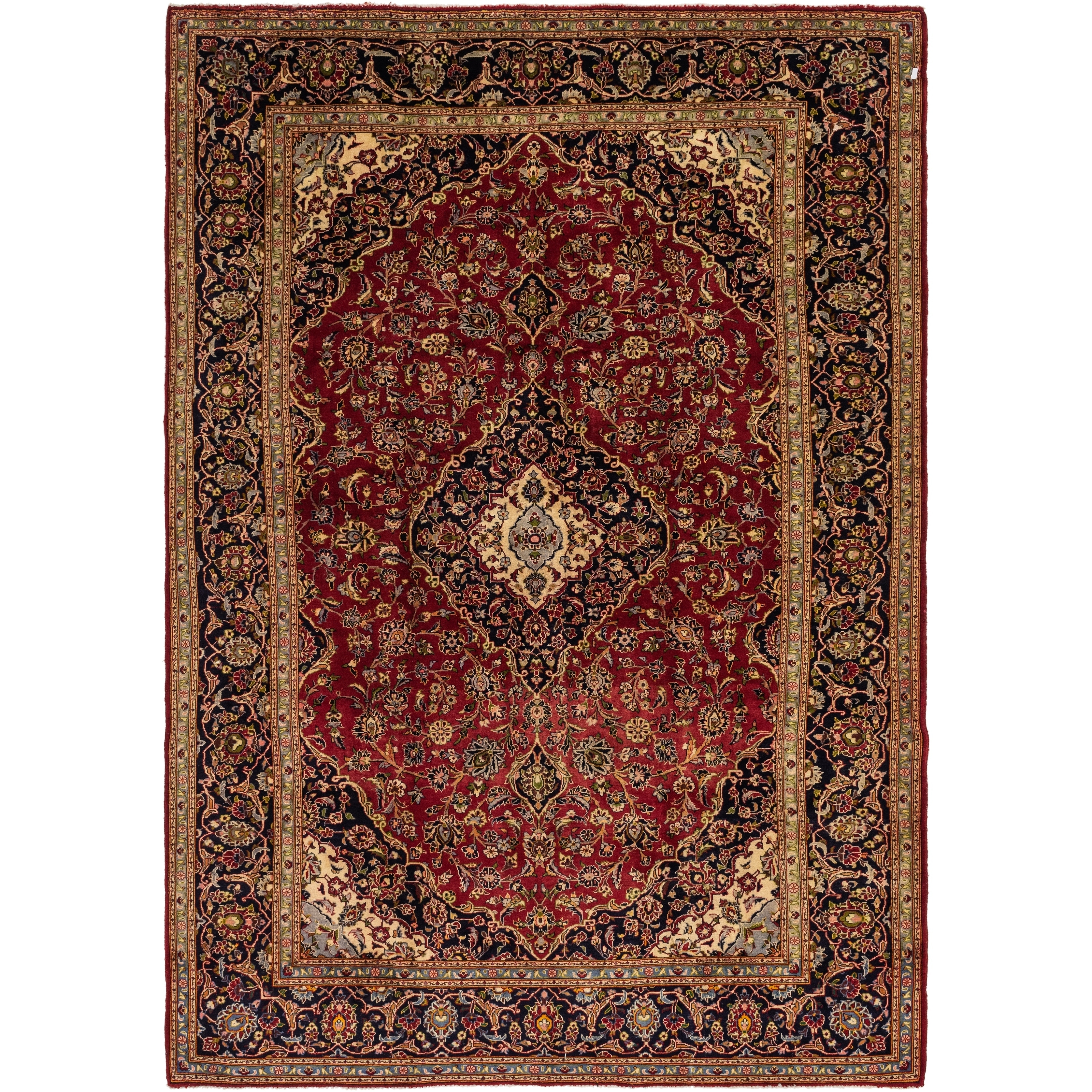 Hand Knotted Kashan Semi Antique Wool Area Rug - 9 8 x 14 (Red - 9 8 x 14)