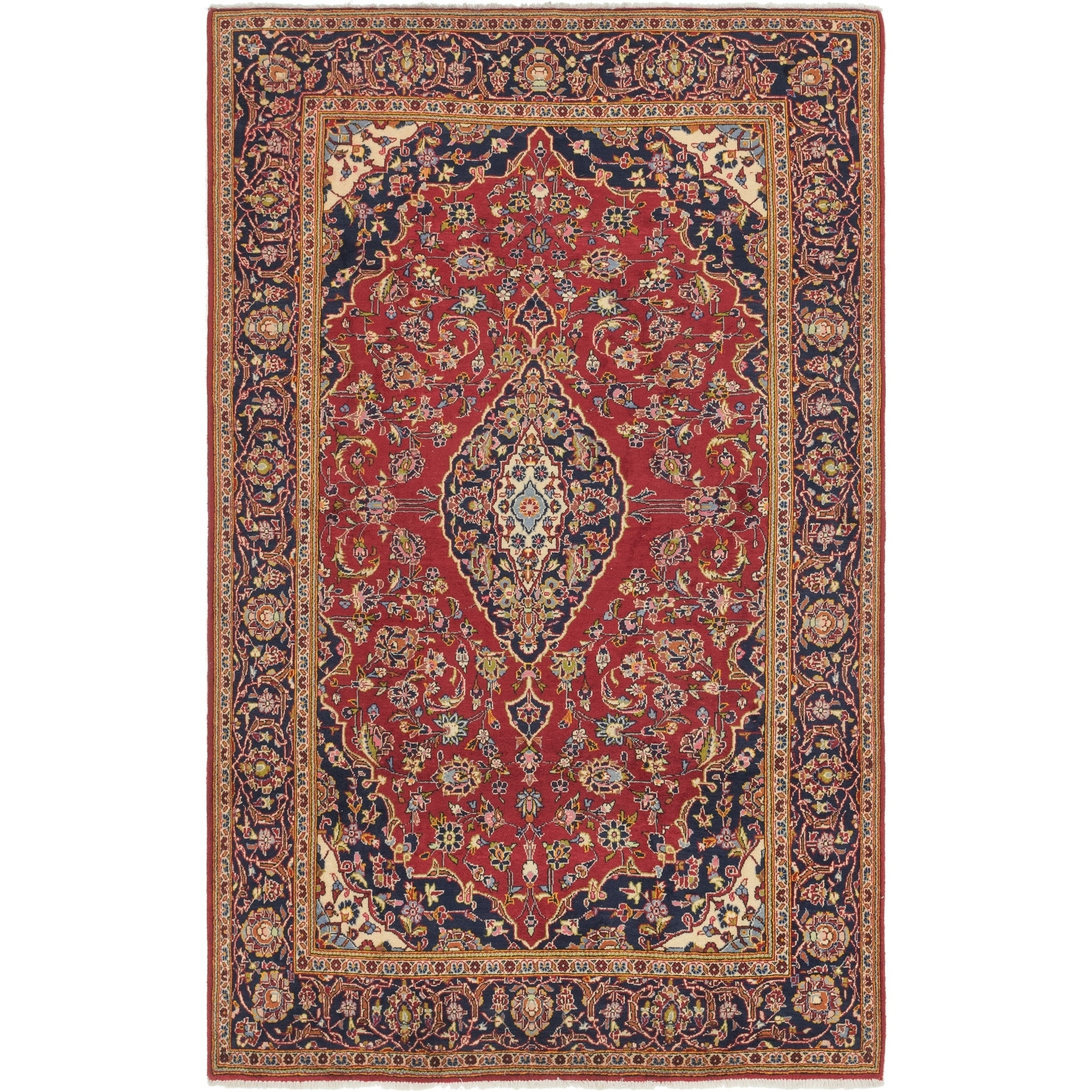 Hand Knotted Kashan Wool Area Rug - 6 5 x 10 6 (Red - 6 5 x 10 6)