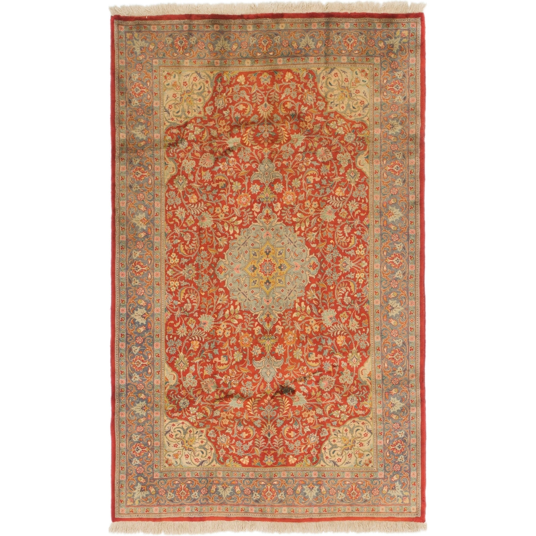 Hand Knotted Kashan Semi Antique Wool Area Rug - 5 x 8 (Red - 5 x 8)