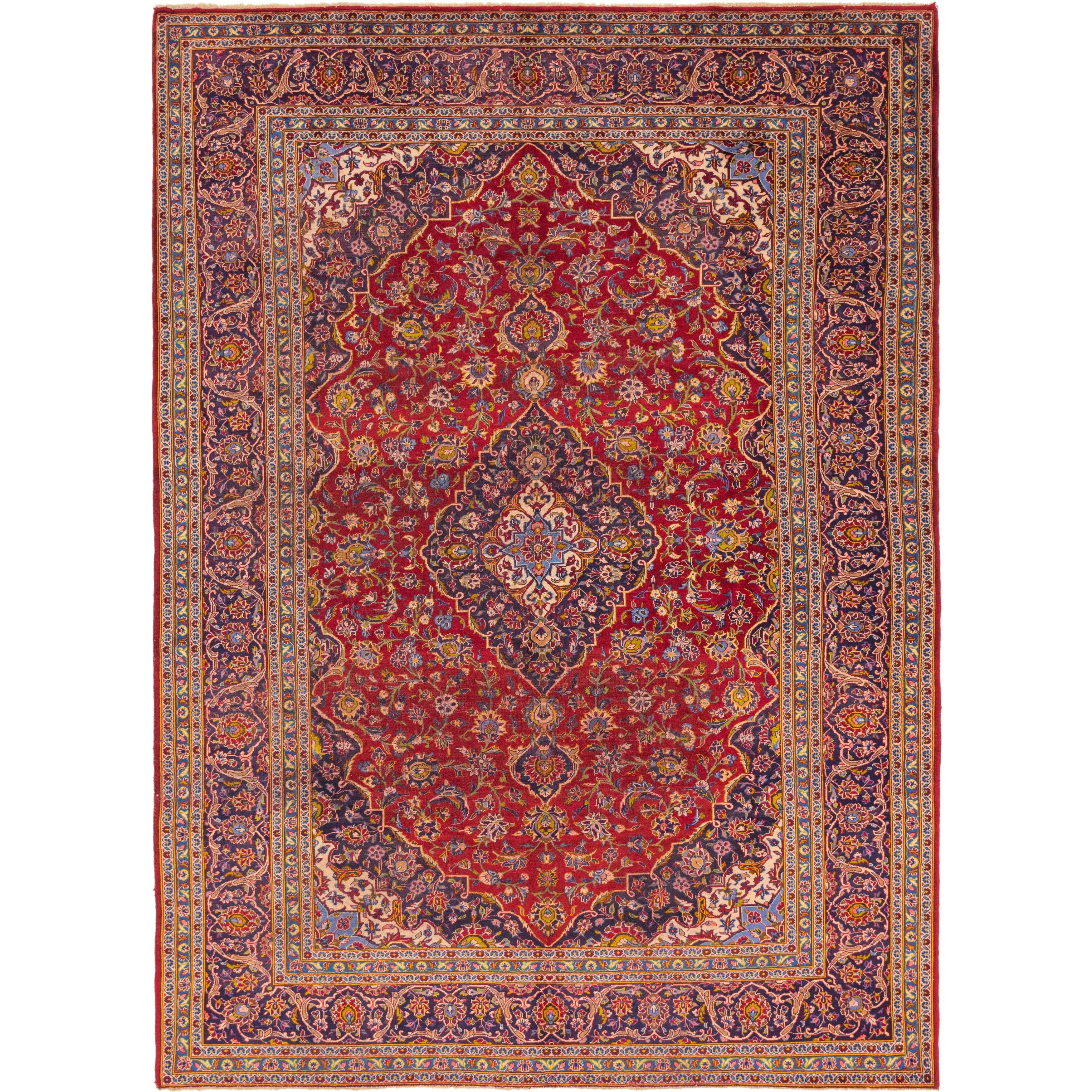 Hand Knotted Kashan Semi Antique Wool Area Rug - 9 8 x 13 4 (Red - 9 8 x 13 4)