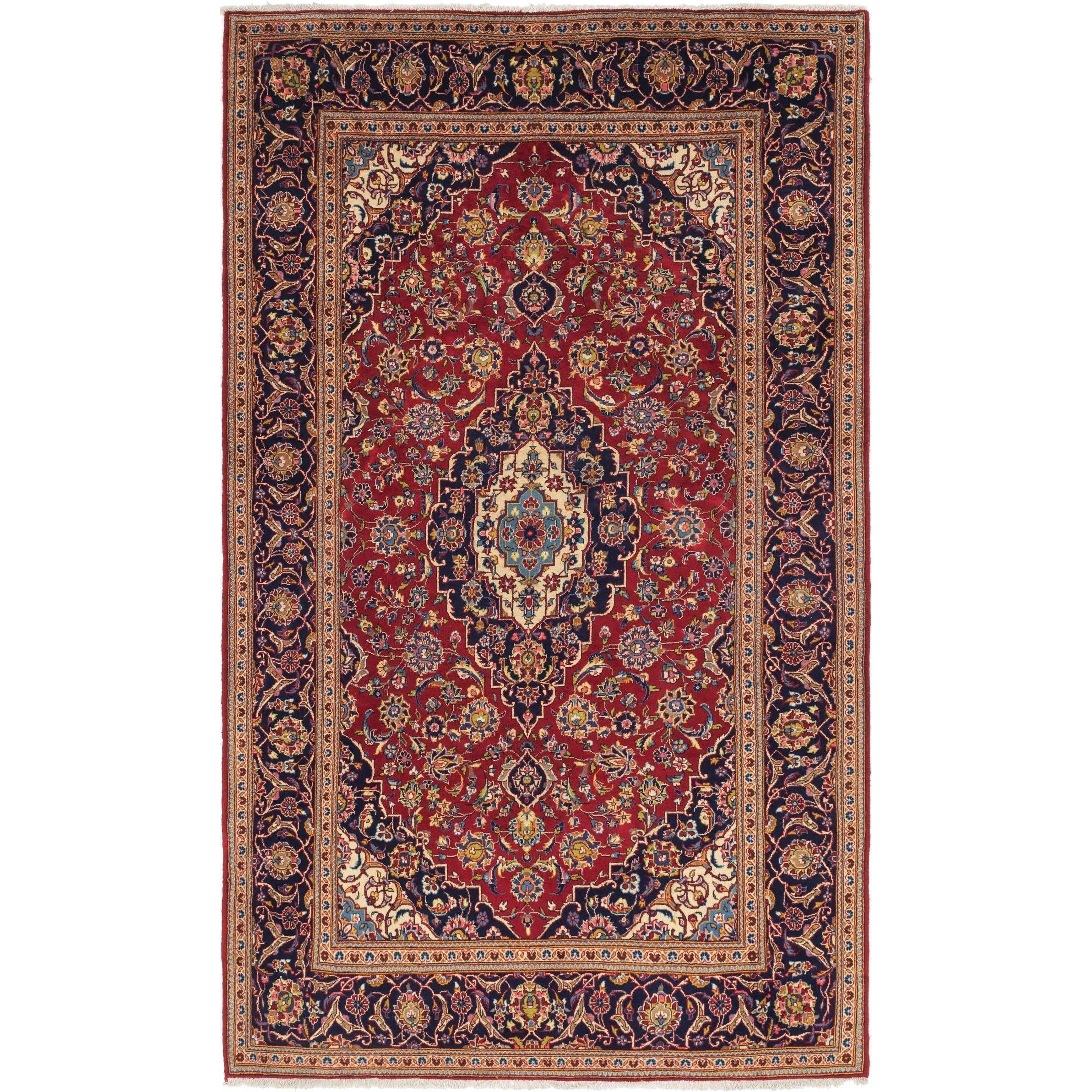 Hand Knotted Kashan Wool Area Rug - 6 6 x 11 4 (Red - 6 6 x 11 4)