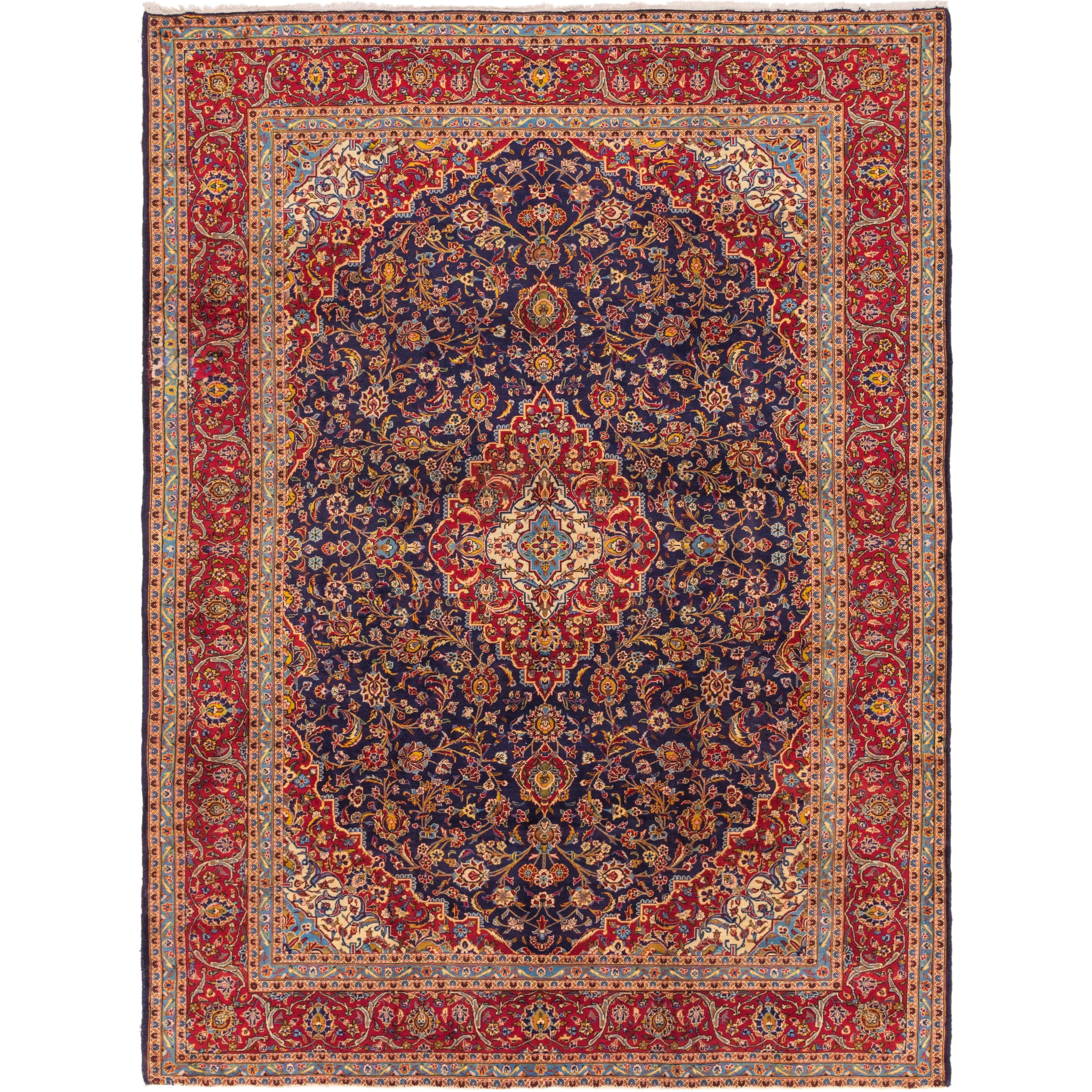 Hand Knotted Kashan Semi Antique Wool Area Rug - 9 10 x 13 3 (Navy blue - 9 10 x 13 3)