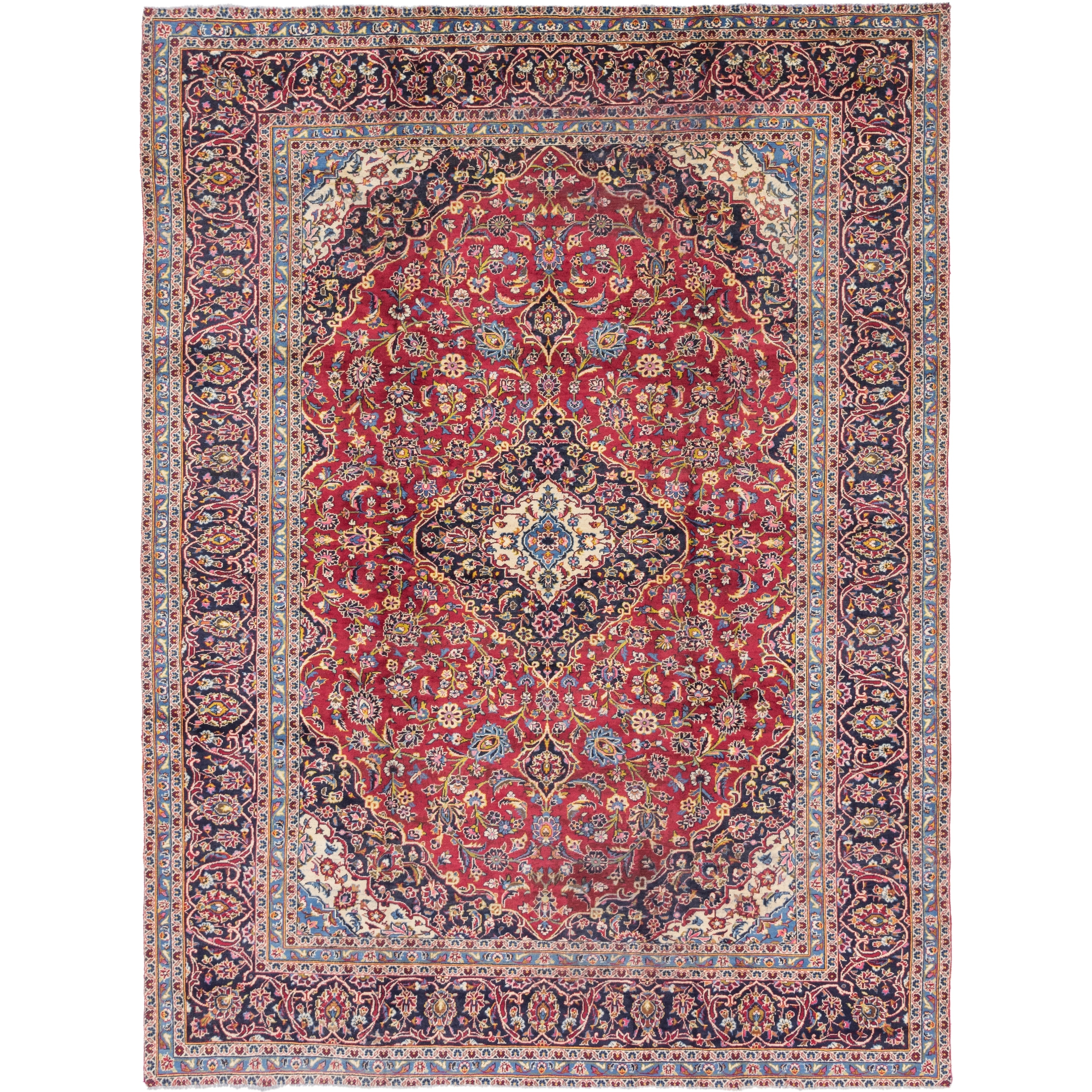 Hand Knotted Kashan Semi Antique Wool Area Rug - 9 6 x 12 7 (Red - 9 6 x 12 7)