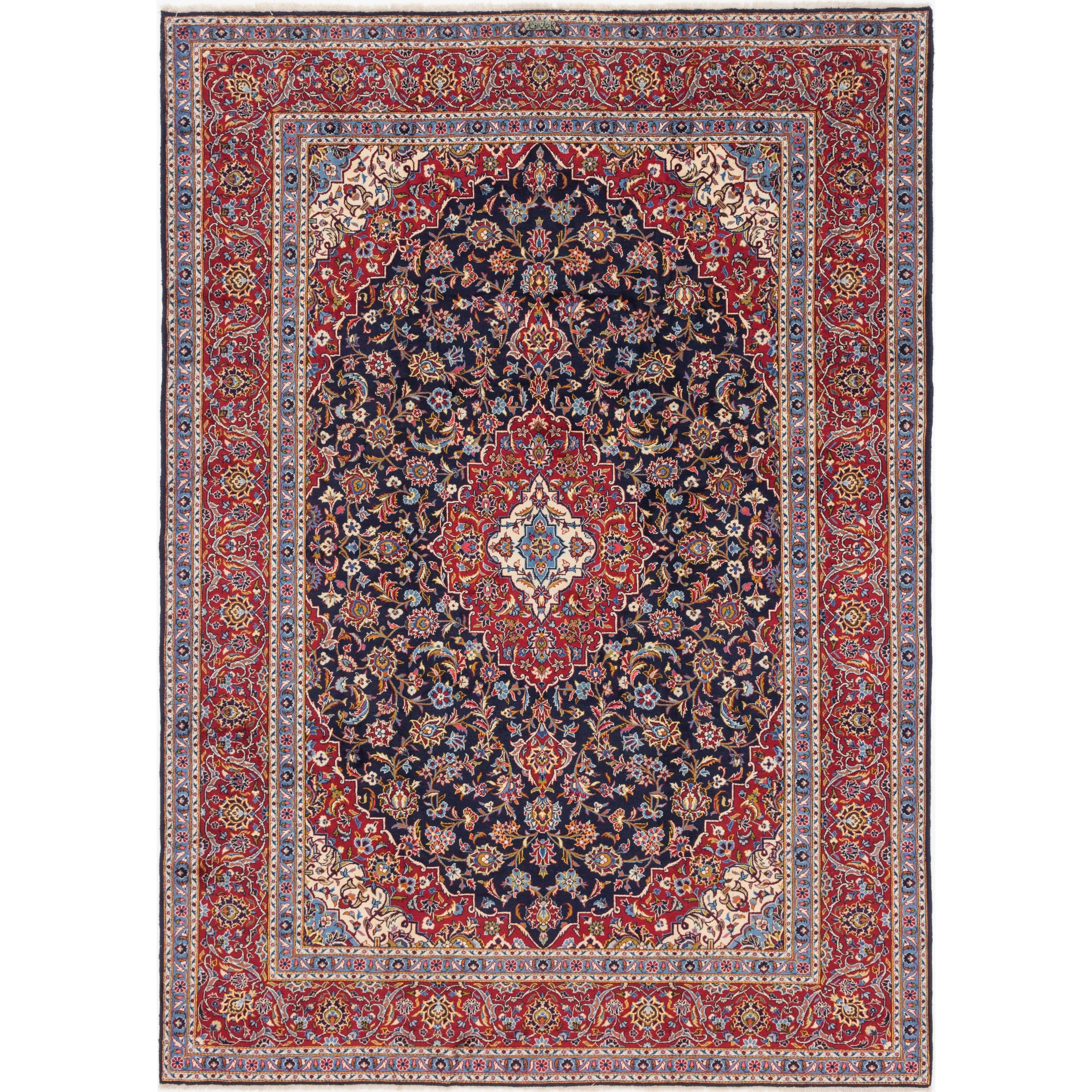 Hand Knotted Kashan Wool Area Rug - 10 x 13 10 (Navy blue - 10 x 13 10)