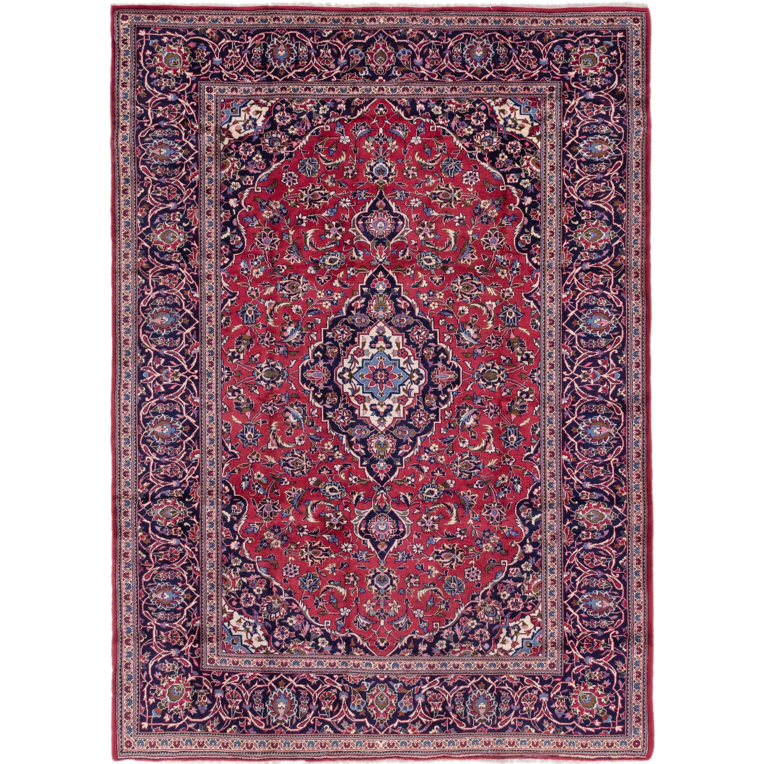 Hand Knotted Kashan Wool Area Rug - 8 x 11 2 (Red - 8 x 11 2)