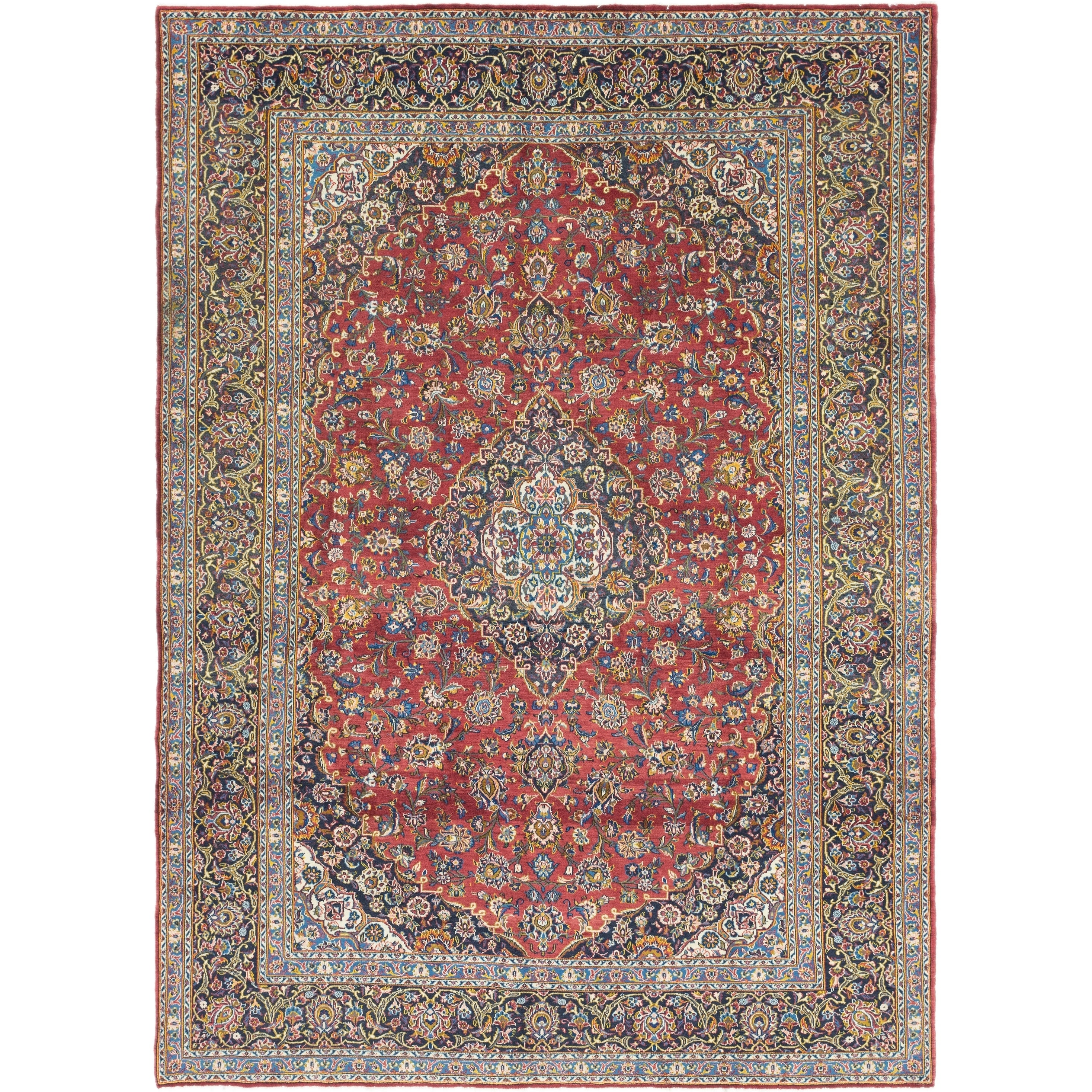Hand Knotted Kashan Antique Wool Area Rug - 8 10 x 12 4 (Red - 8 10 x 12 4)