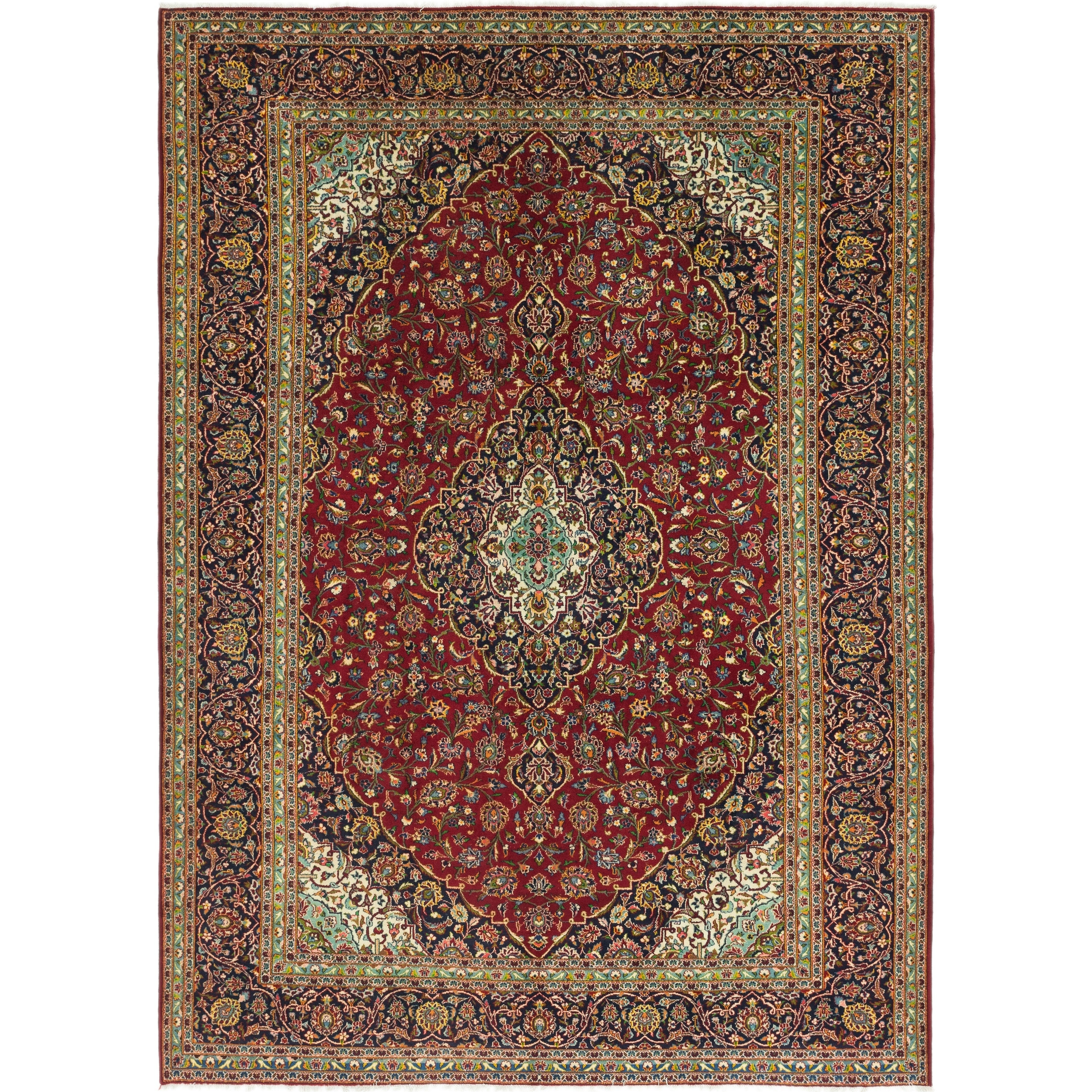 Hand Knotted Kashan Wool Area Rug - 9 9 x 13 4 (Red - 9 9 x 13 4)