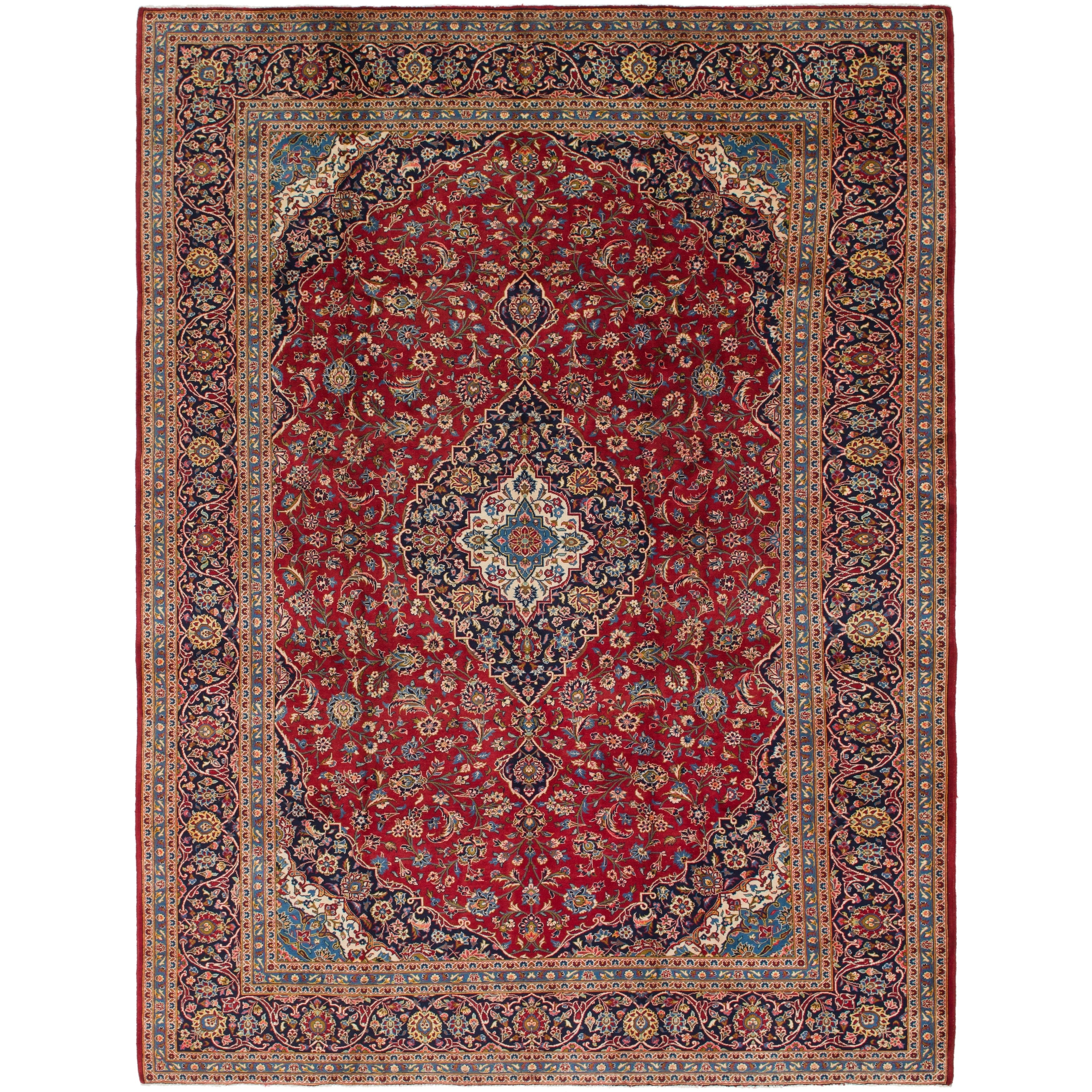 Hand Knotted Kashan Semi Antique Wool Area Rug - 9 9 x 13 (Red - 9 9 x 13)
