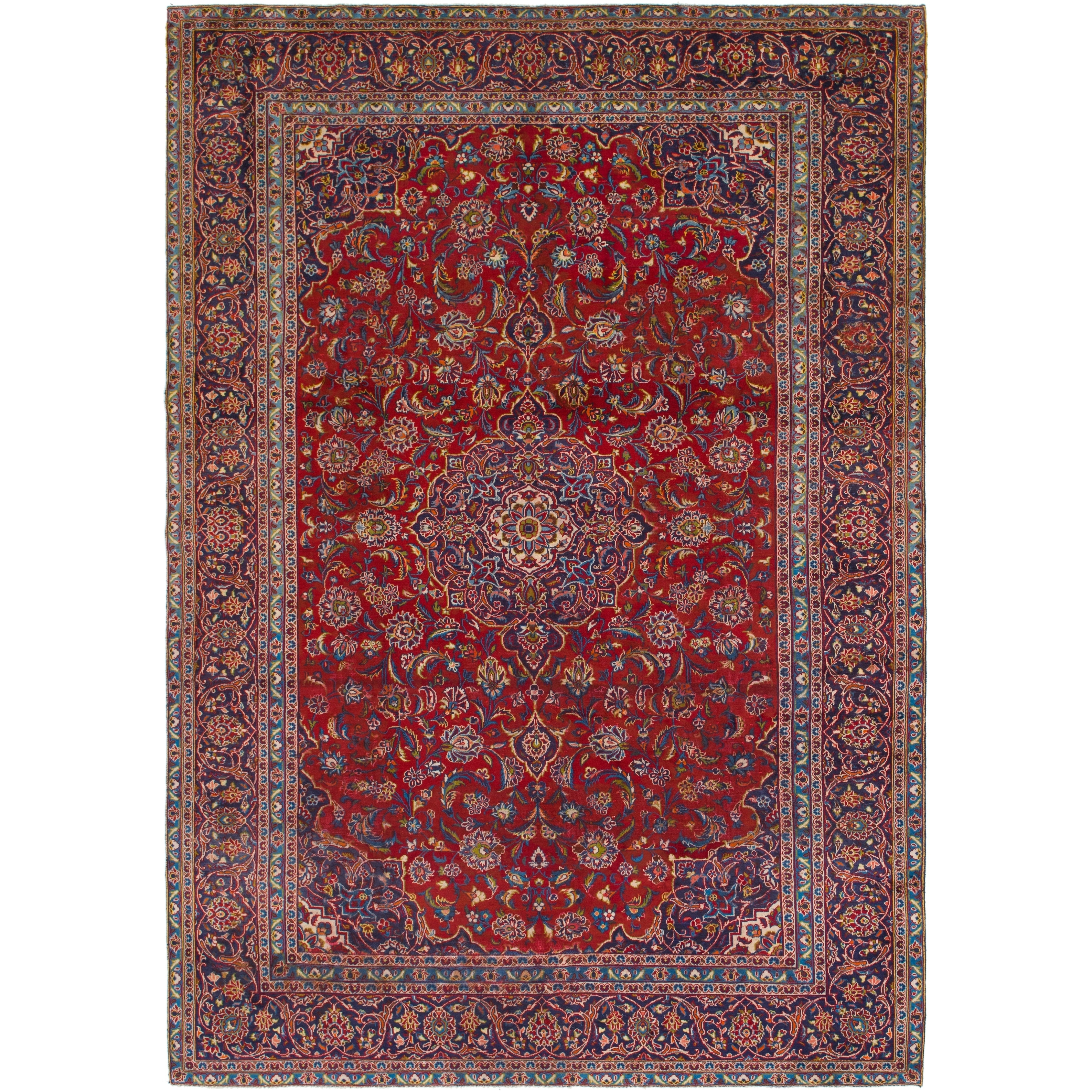 Hand Knotted Kashan Semi Antique Wool Area Rug - 9 4 x 13 4 (Red - 9 4 x 13 4)