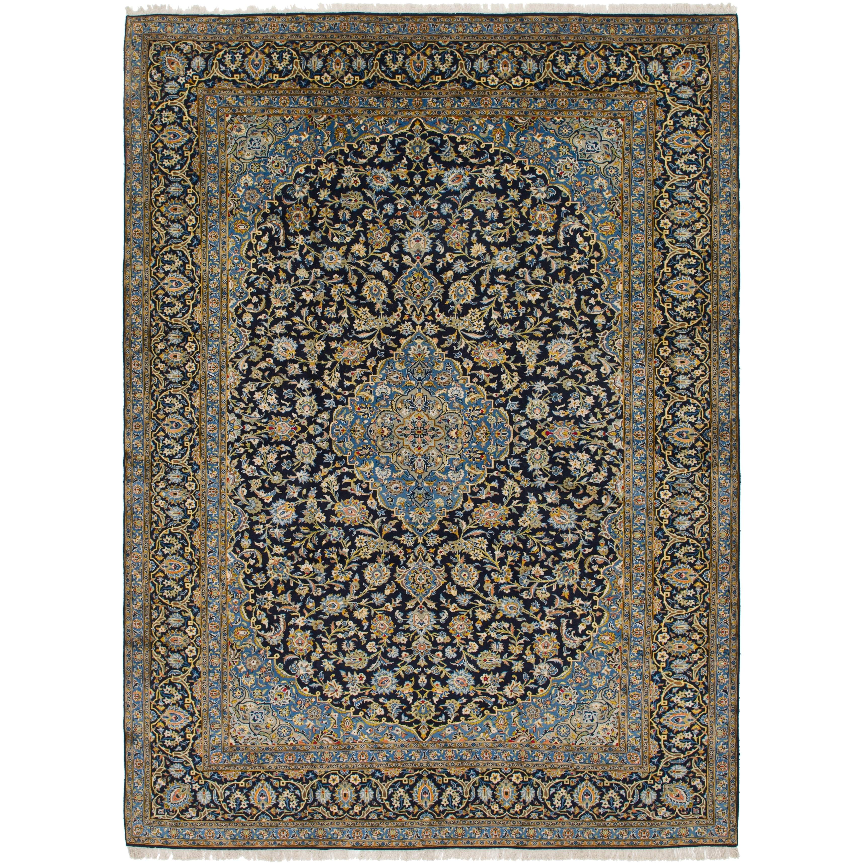 Hand Knotted Kashan Wool Area Rug - 10 x 13 5 (Navy blue - 10 x 13 5)