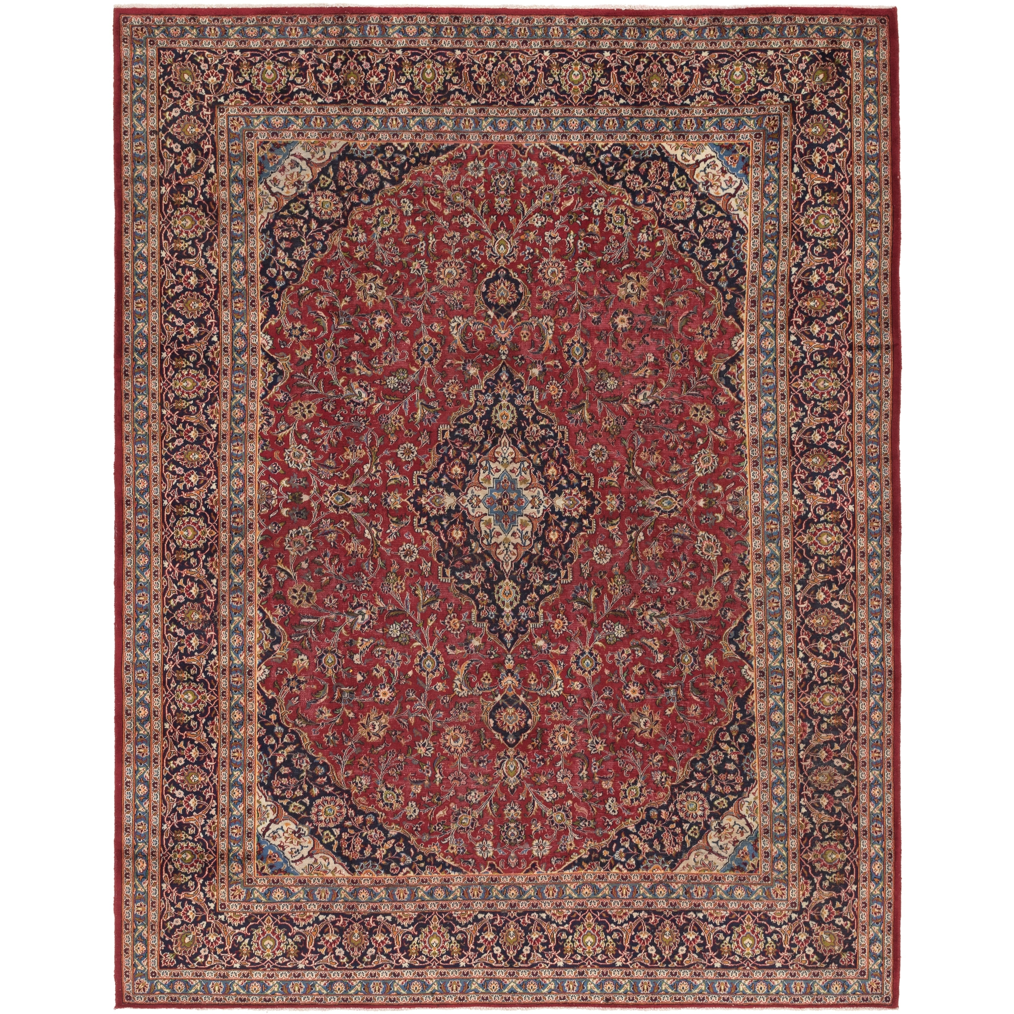 Hand Knotted Kashan Semi Antique Wool Area Rug - 9 6 x 12 9 (Red - 9 6 x 12 9)