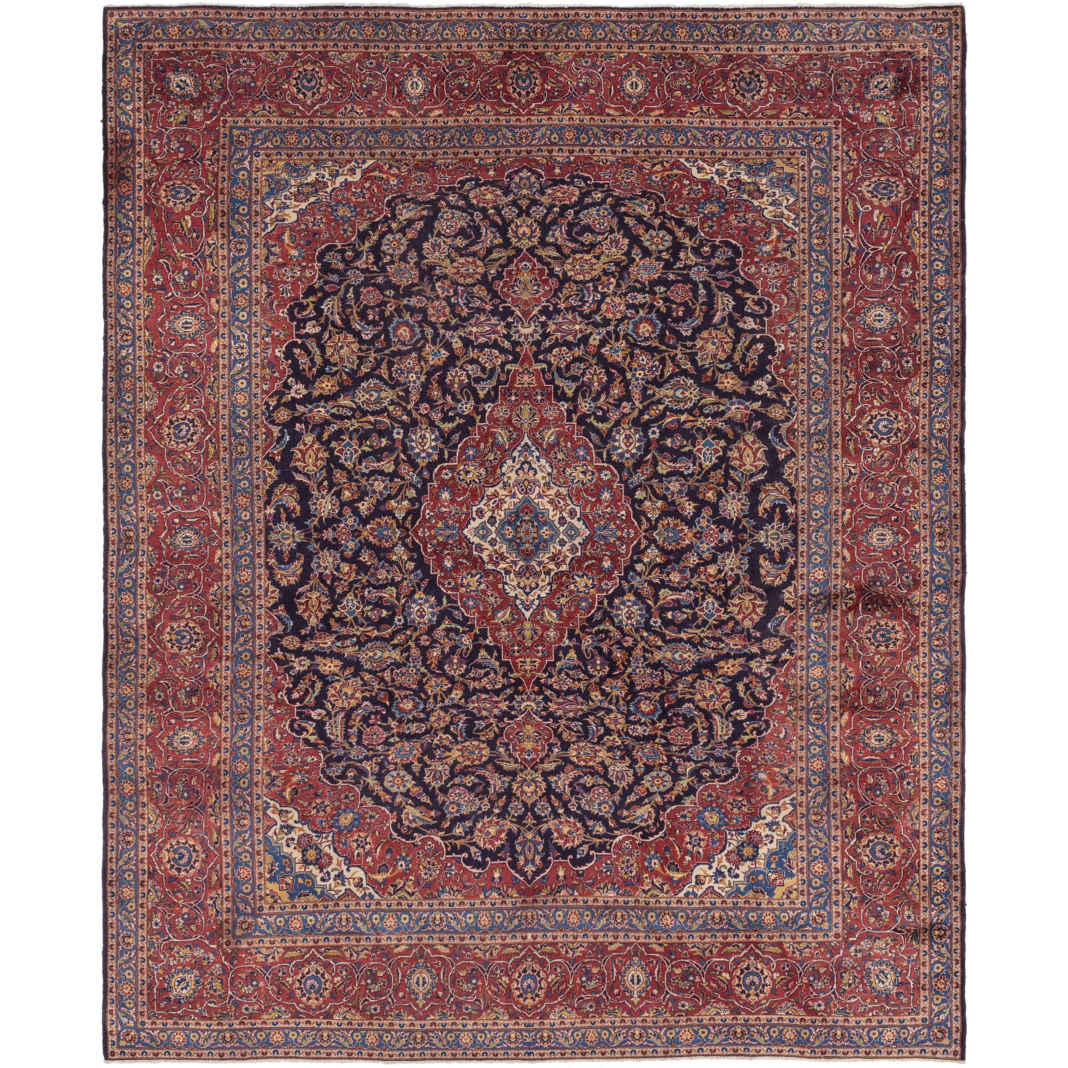 Hand Knotted Kashan Semi Antique Wool Area Rug - 10 2 x 12 4 (Navy blue - 10 2 x 12 4)