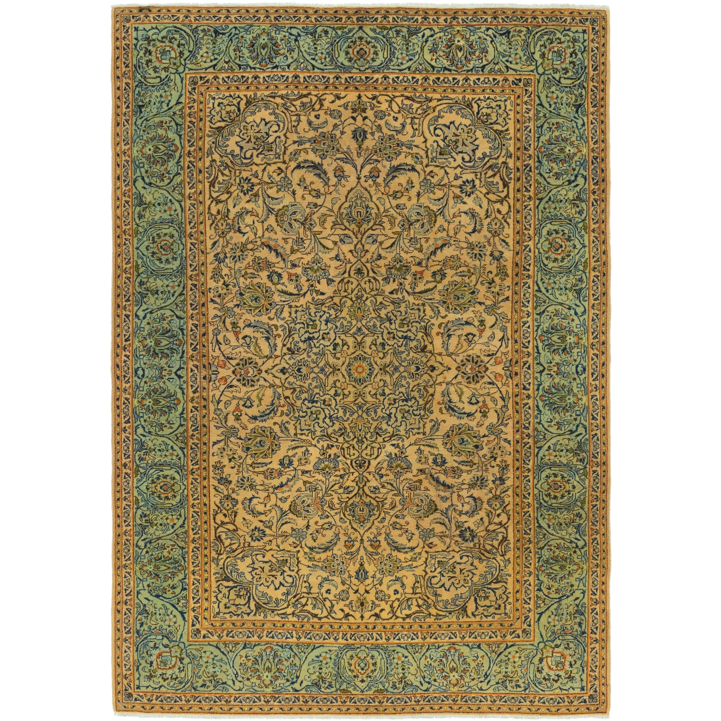 Hand Knotted Kashan Antique Wool Area Rug - 7 9 x 11 5 (Tan - 7 9 x 11 5)