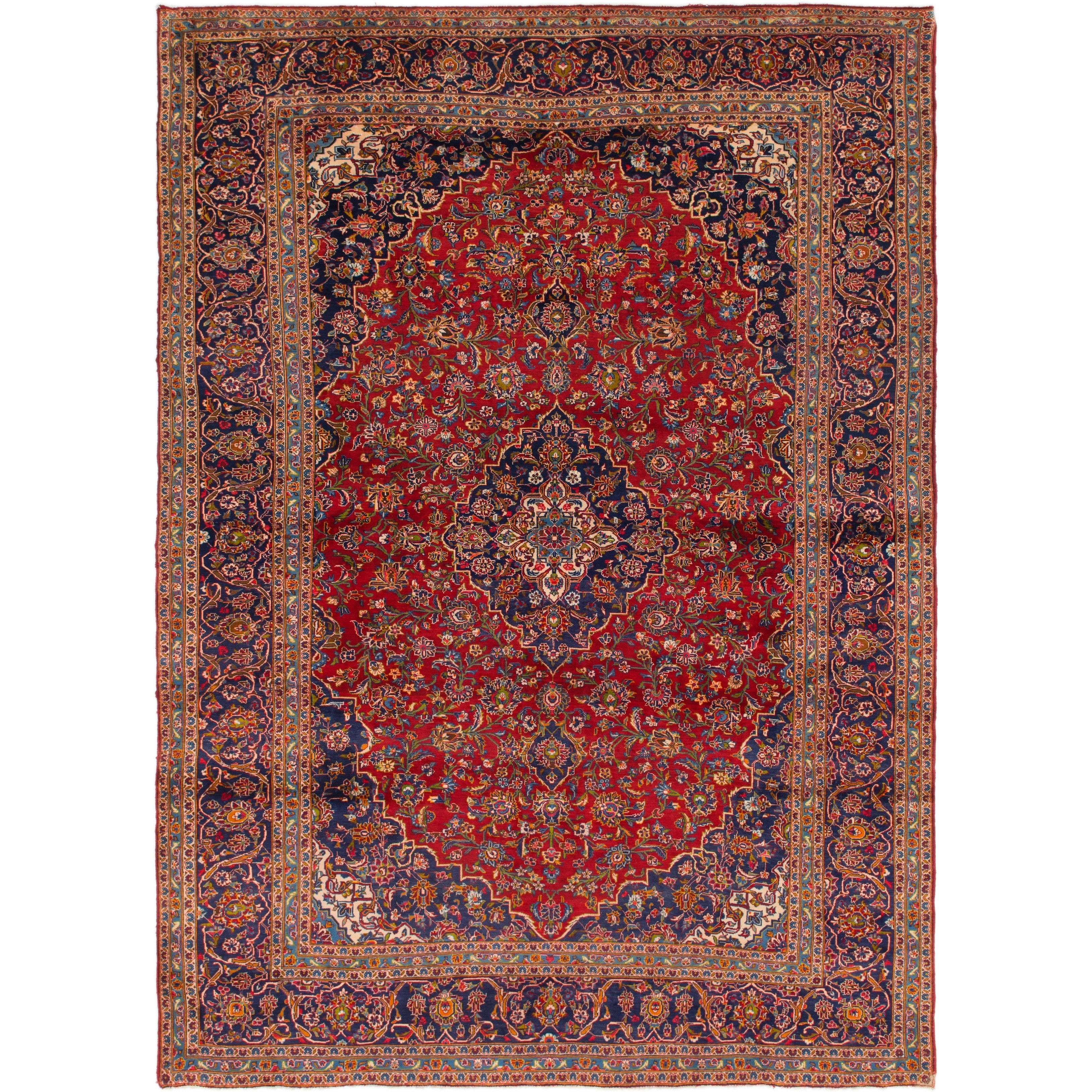 Hand Knotted Kashan Semi Antique Wool Area Rug - 9 9 x 13 6 (Red - 9 9 x 13 6)