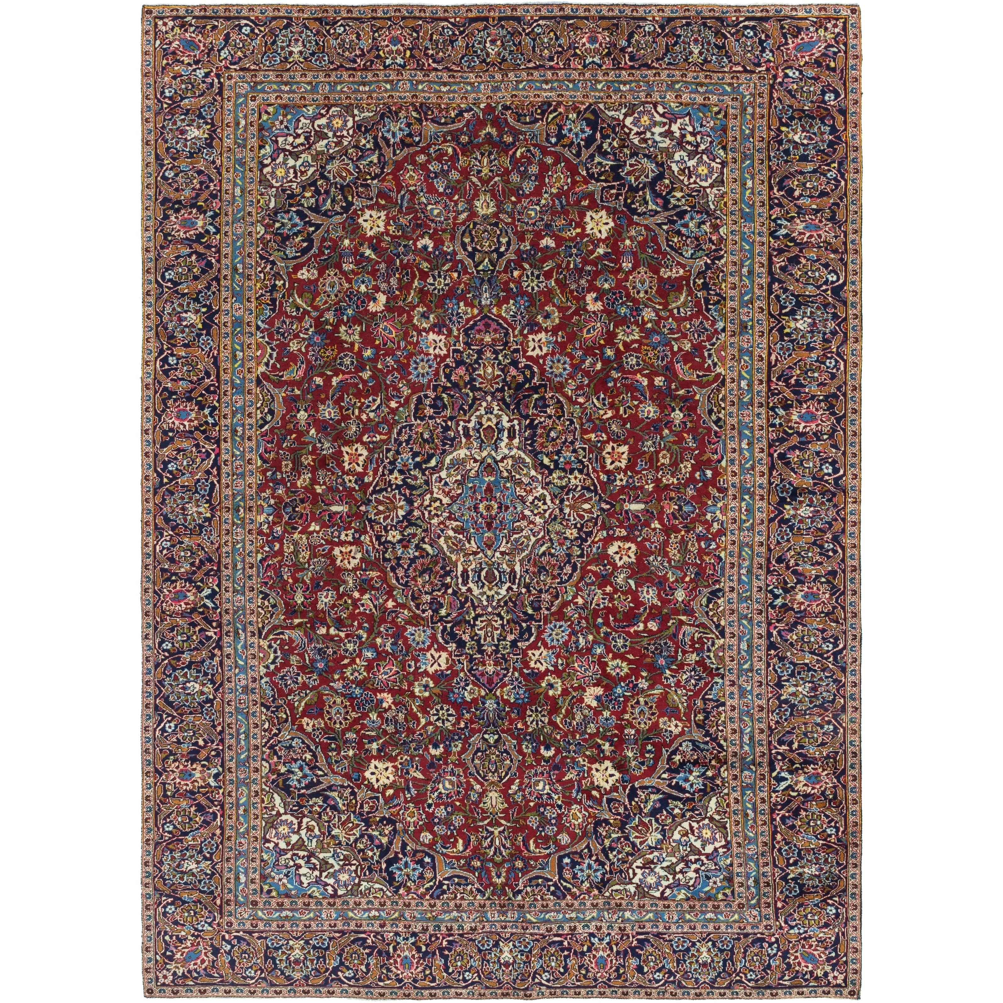 Hand Knotted Kashan Wool Area Rug - 9 x 12 6 (Red - 9 x 12 6)