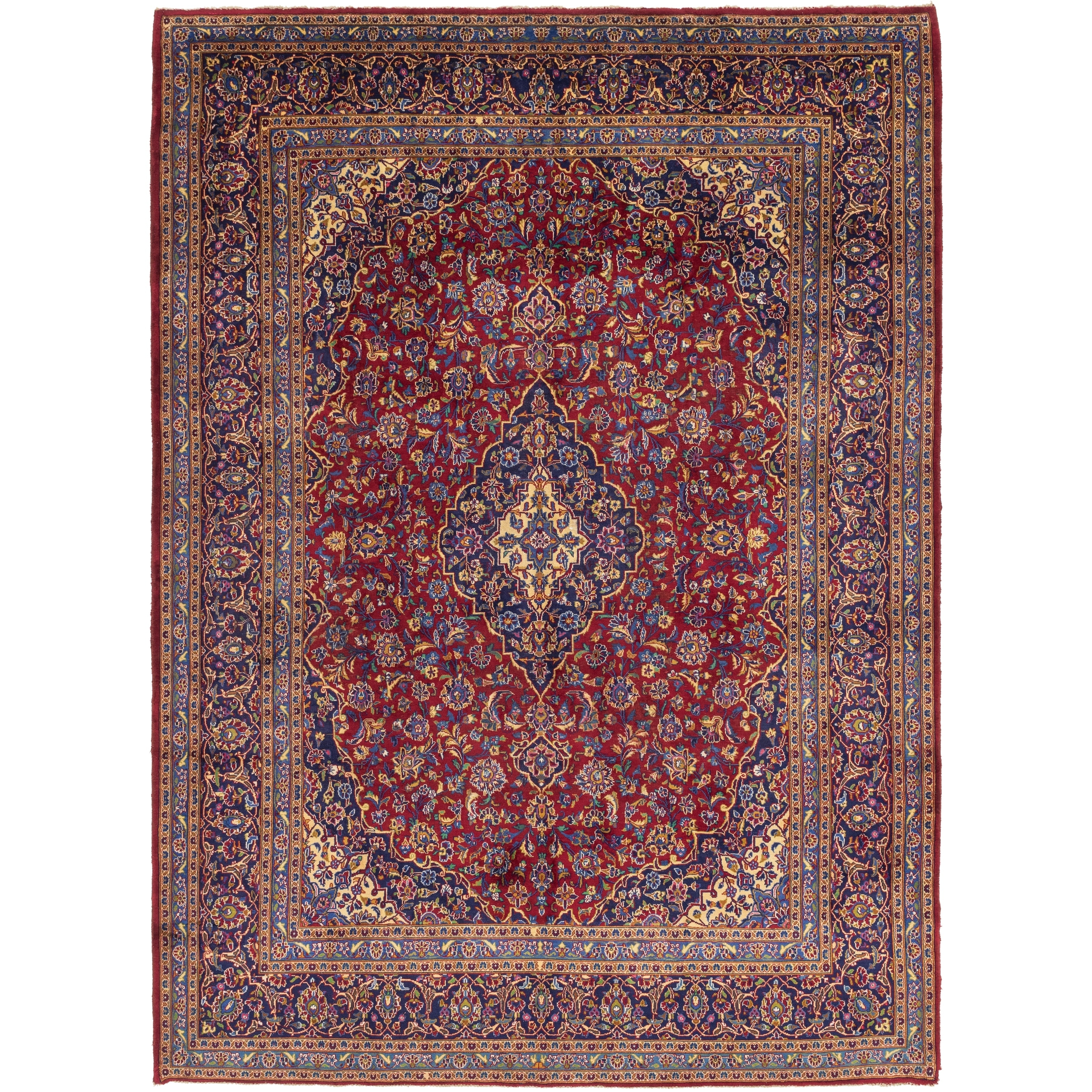 Hand Knotted Kashan Wool Area Rug - 10 x 13 5 (Beige - 10 x 13 5)