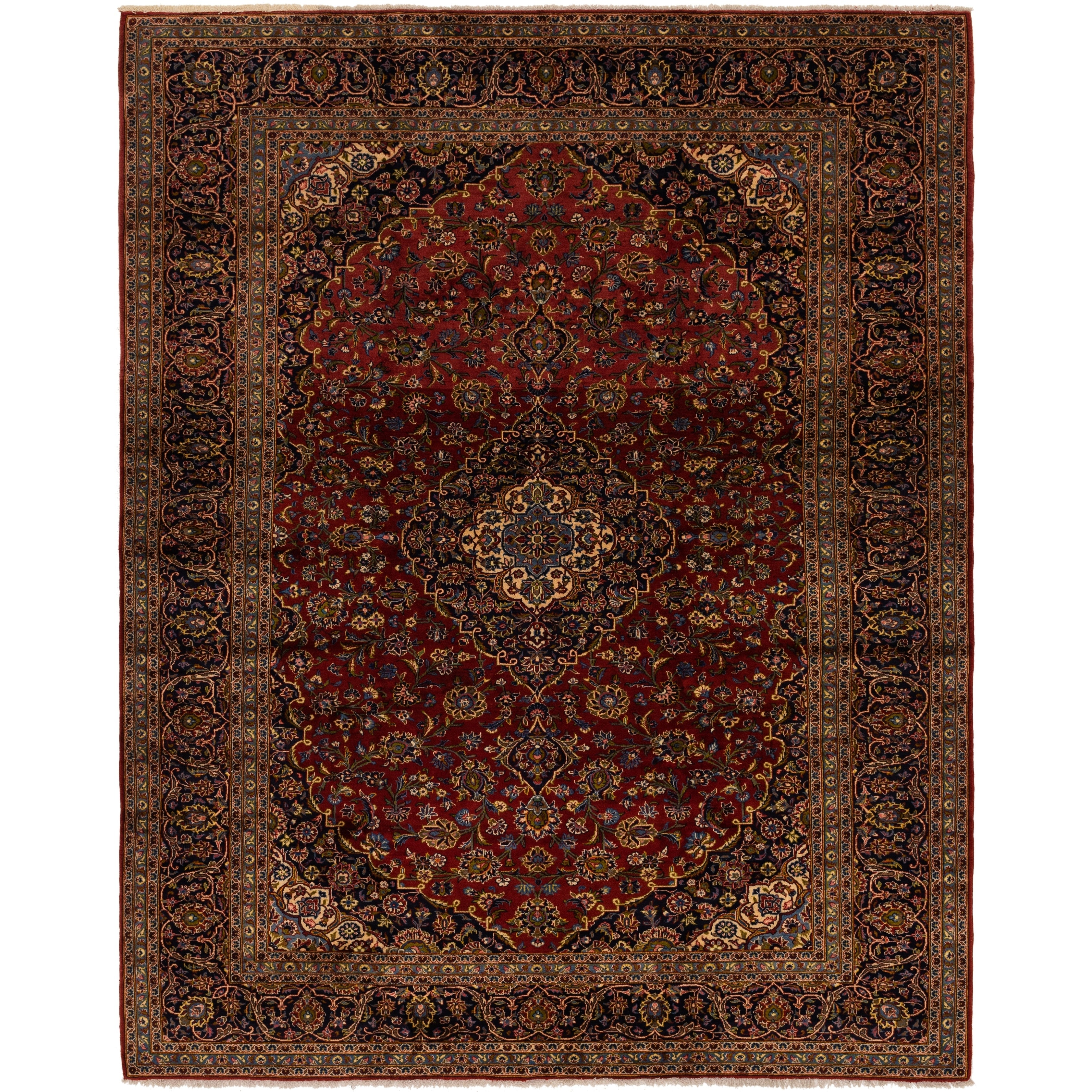Hand Knotted Kashan Semi Antique Wool Area Rug - 9 10 x 12 5 (Red - 9 10 x 12 5)