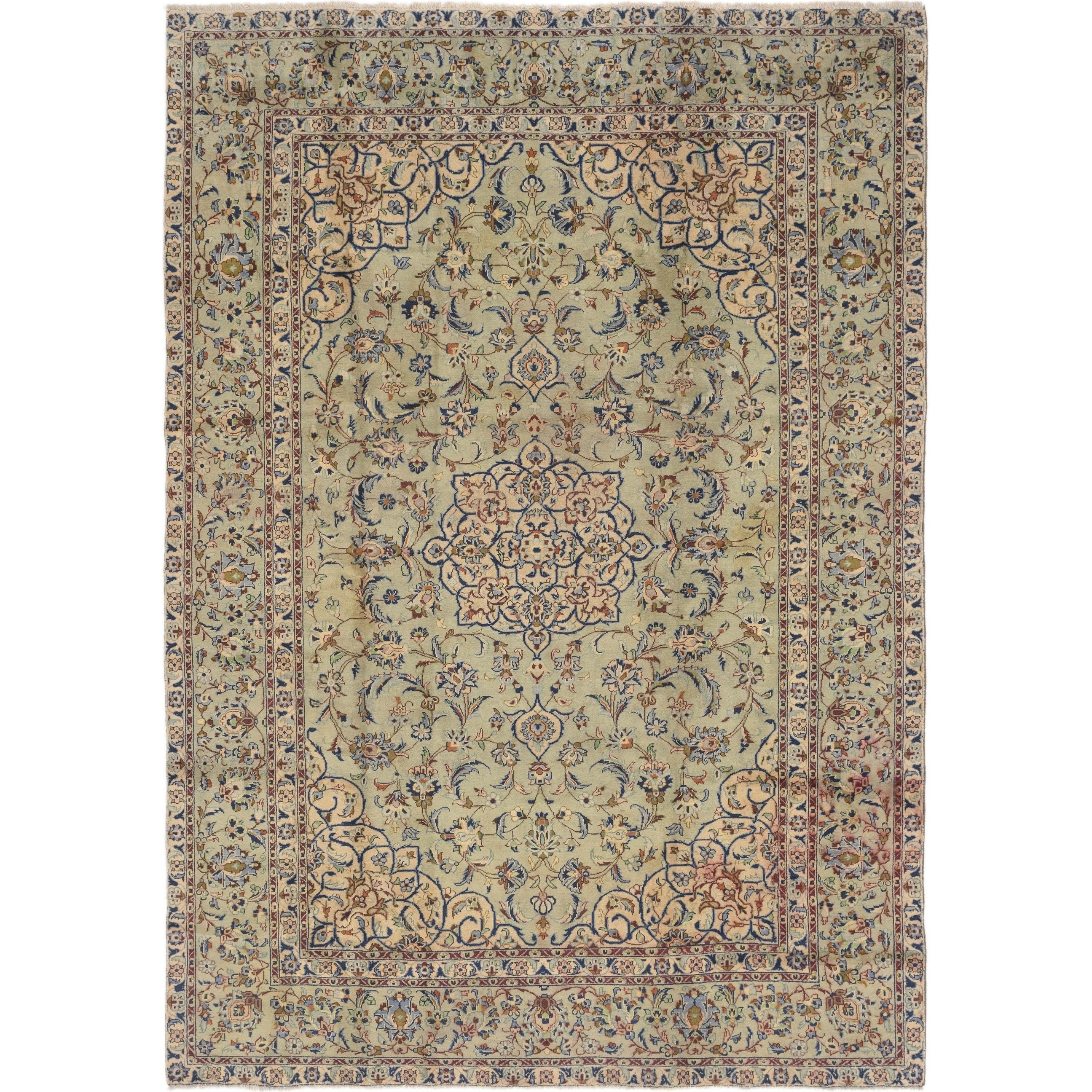 Hand Knotted Kashan Semi Antique Wool Area Rug - 8 X 11 (Light Green - 8 X 11)