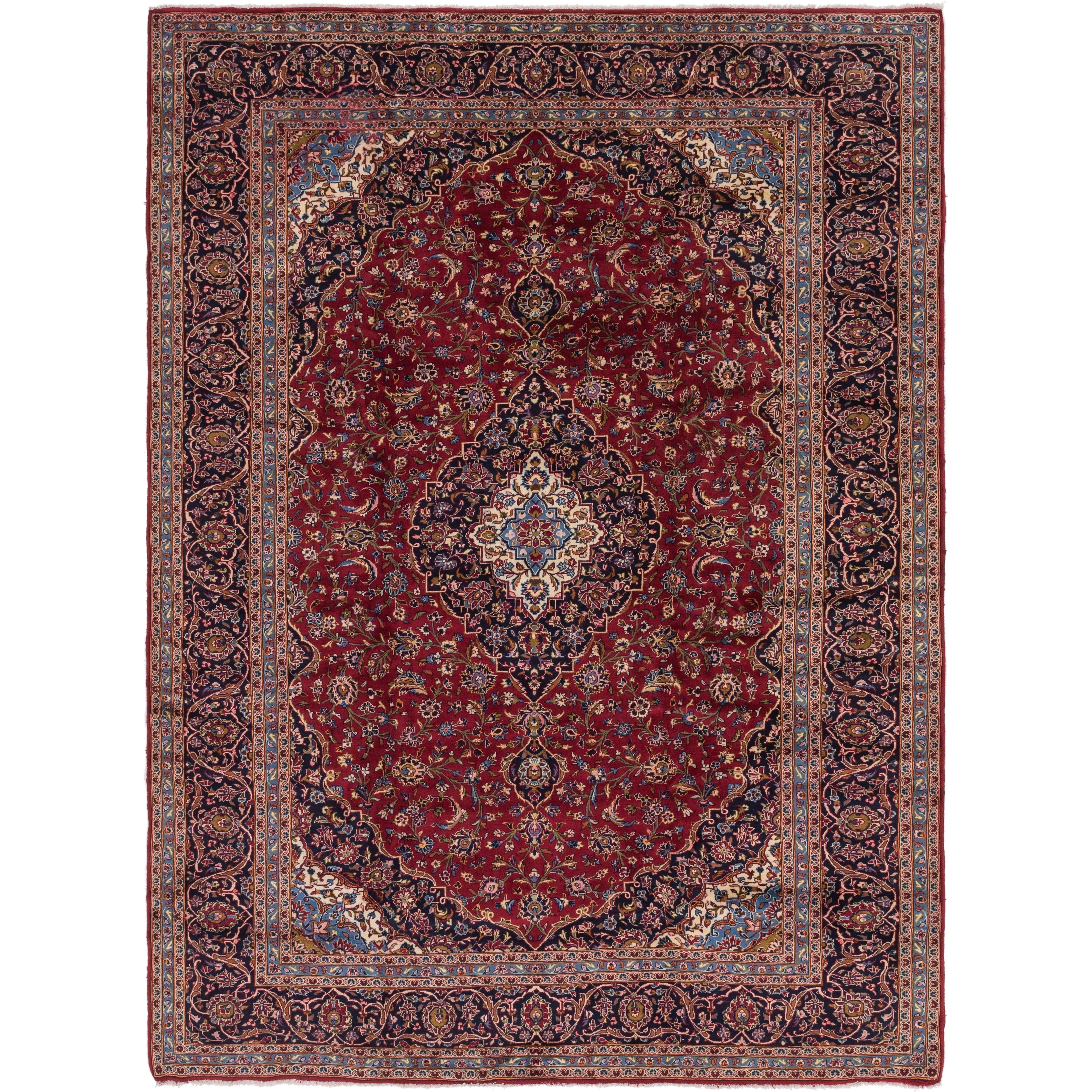 Hand Knotted Kashan Wool Area Rug - 9 7 x 13 (Red - 9 7 x 13)