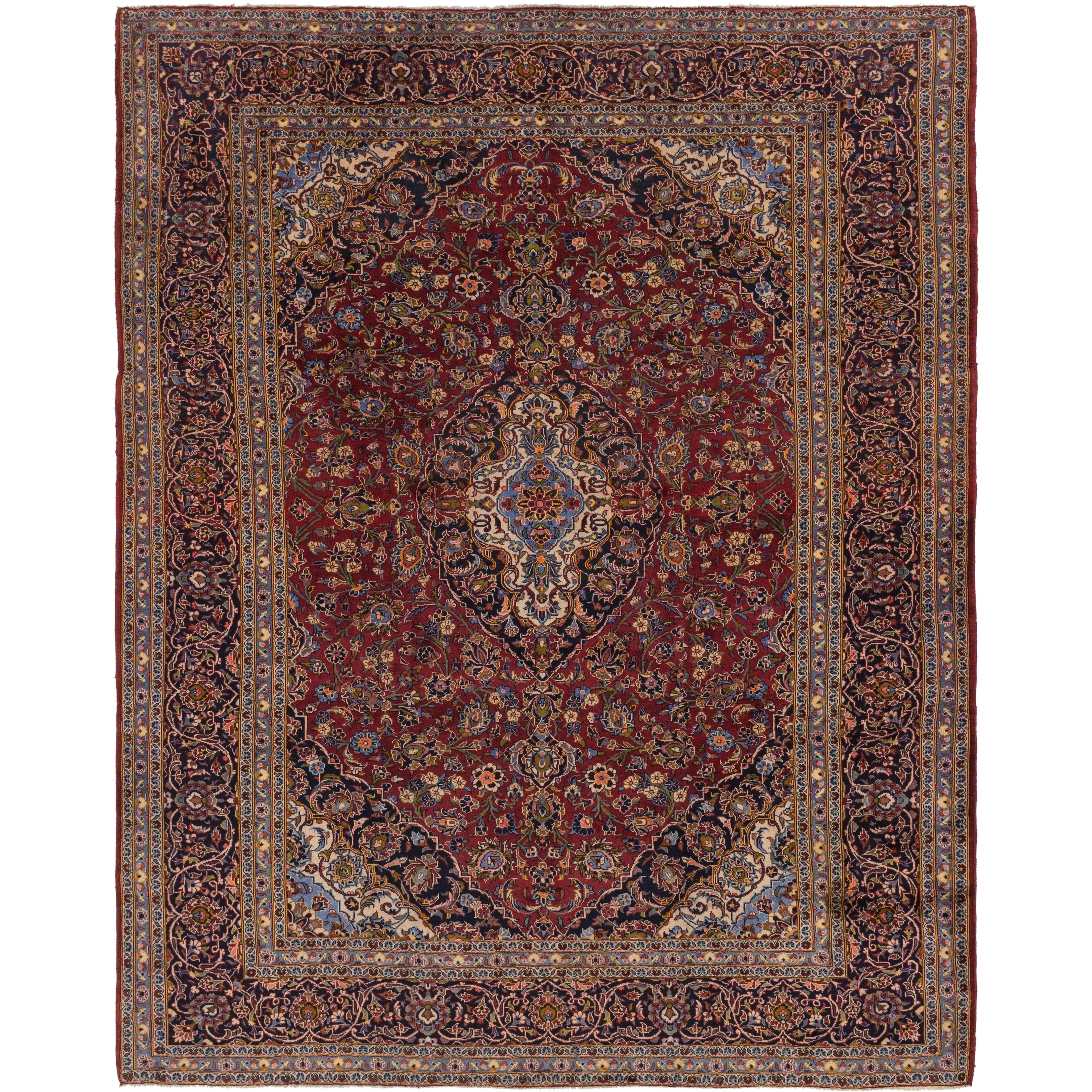 Hand Knotted Kashan Semi Antique Wool Area Rug - 10 x 12 7 (Red - 10 x 12 7)