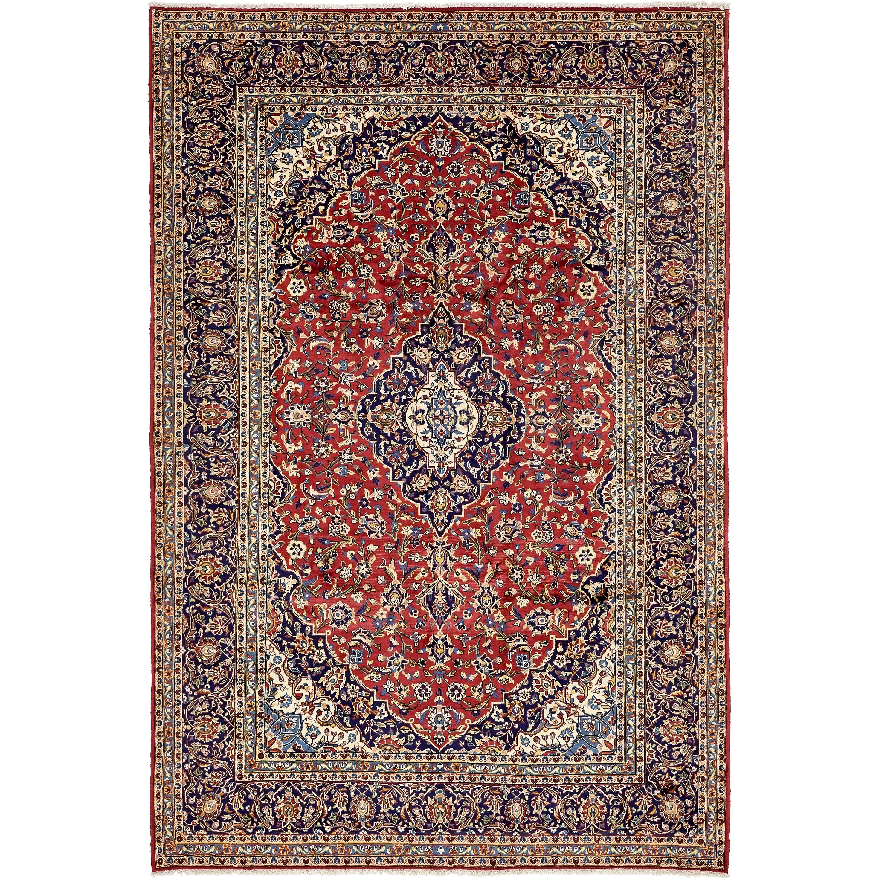 Hand Knotted Kashan Semi Antique Wool Area Rug - 8 2 x 12 3 (Red - 8 2 x 12 3)