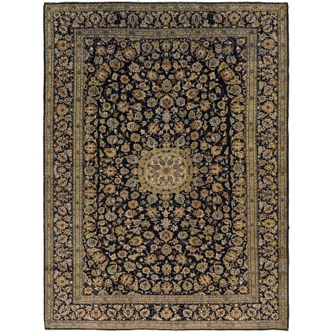 Hand Knotted Kashan Semi Antique Wool Area Rug - 9' 8 x 13'