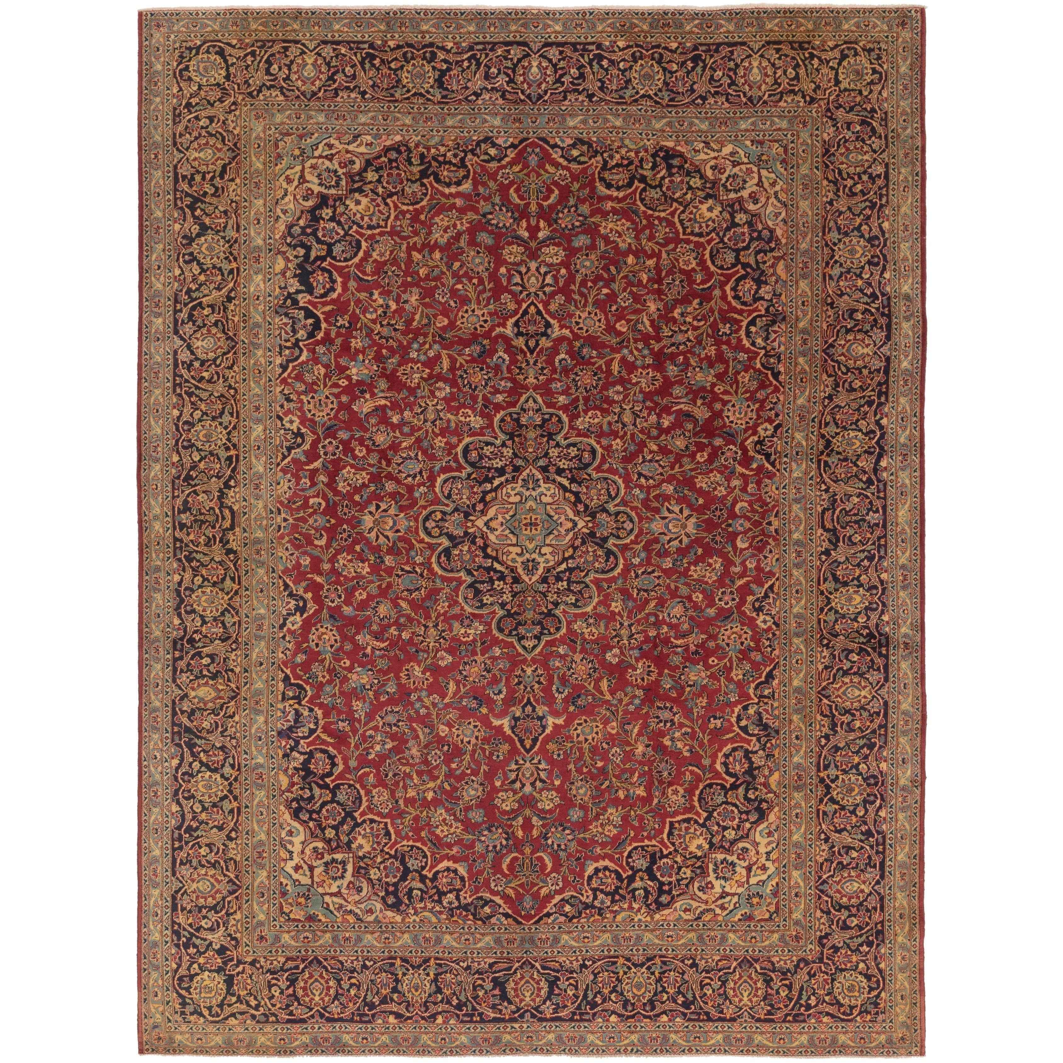 Hand Knotted Kashan Semi Antique Wool Area Rug - 10 x 13 (Red - 10 x 13)