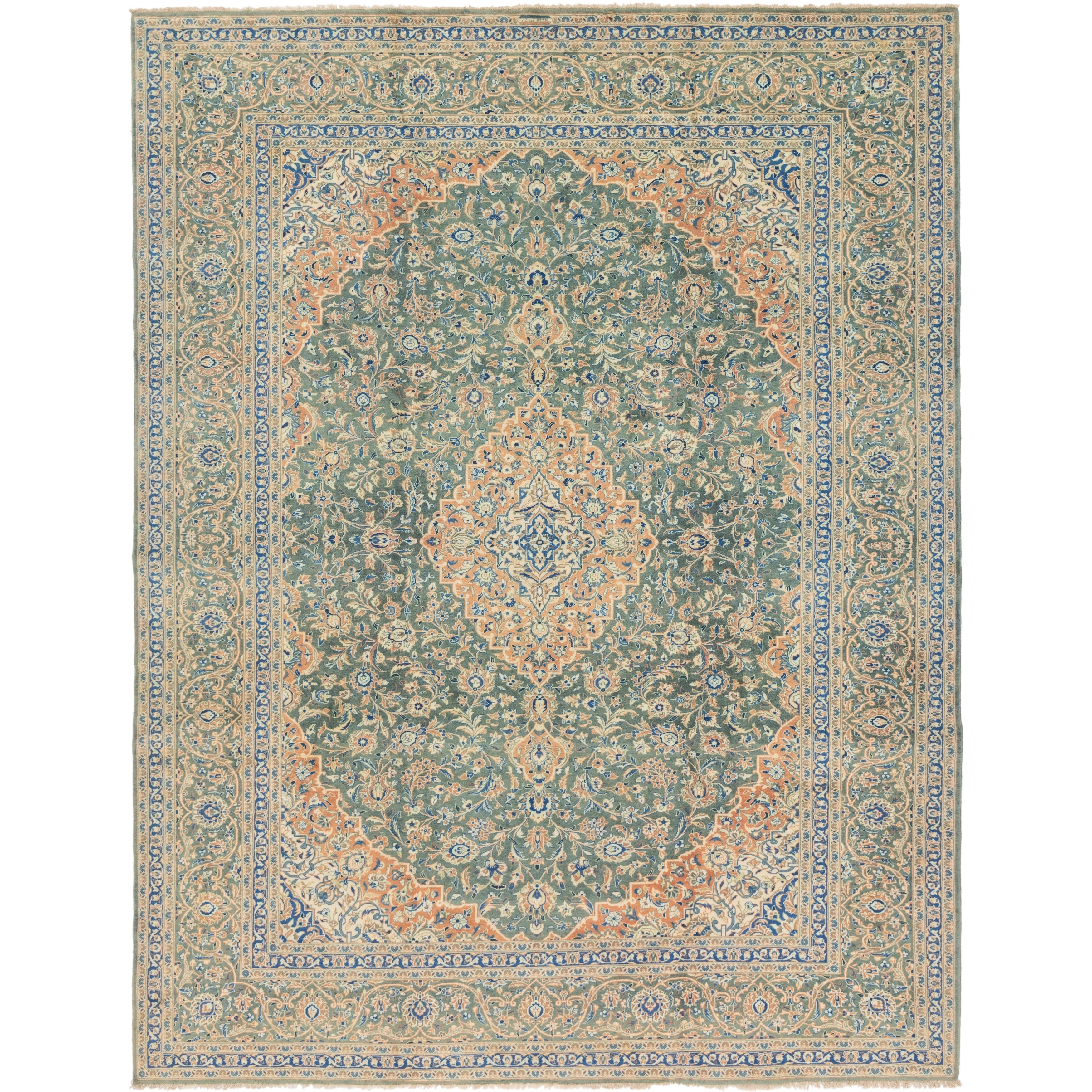 Hand Knotted Kashan Semi Antique Wool Area Rug - 10 4 x 13 4 (Green - 10 4 x 13 4)