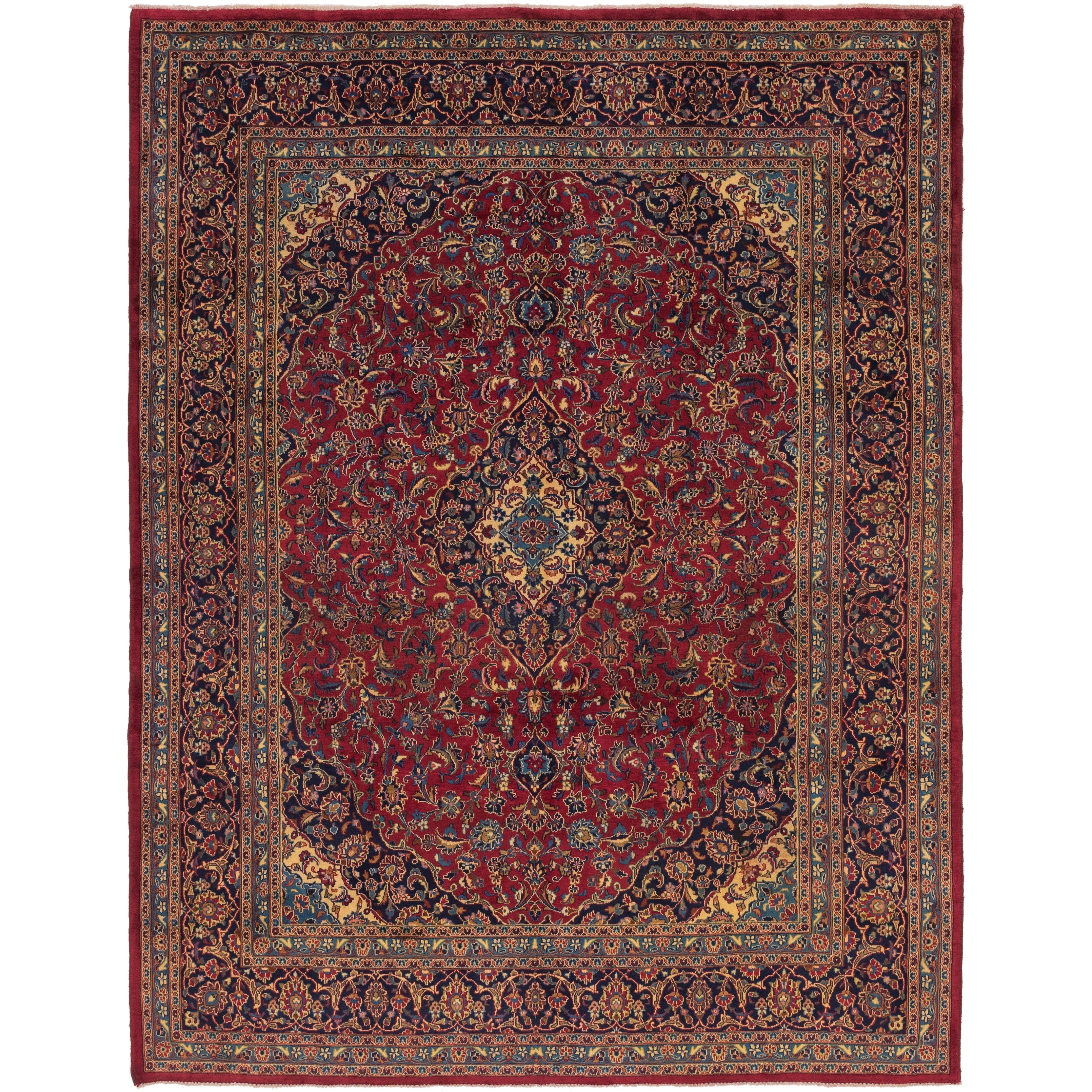 Hand Knotted Kashan Wool Area Rug - 9 8 x 12 7 (Red - 9 8 x 12 7)