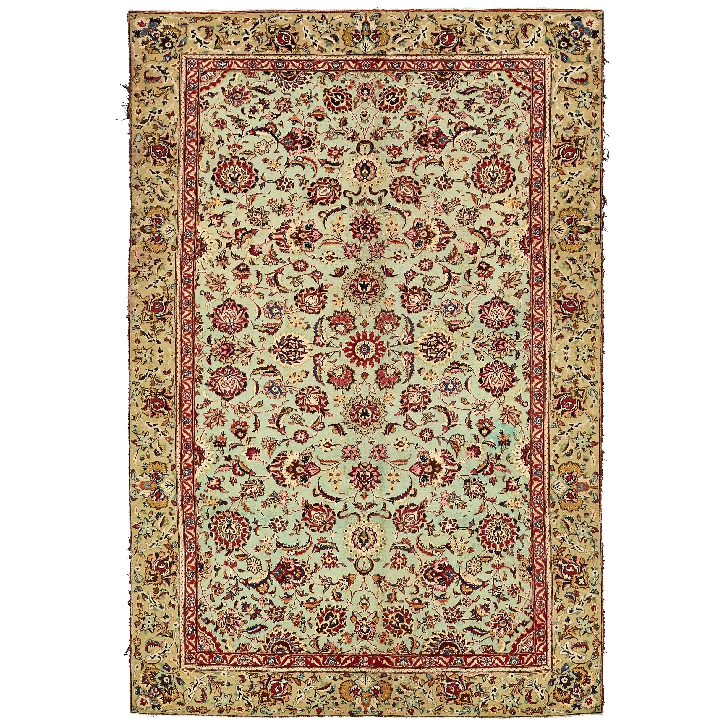 Hand Knotted Kashan Semi Antique Wool Area Rug - 6 5 x 9 7 (Blue - 6 5 x 9 7)